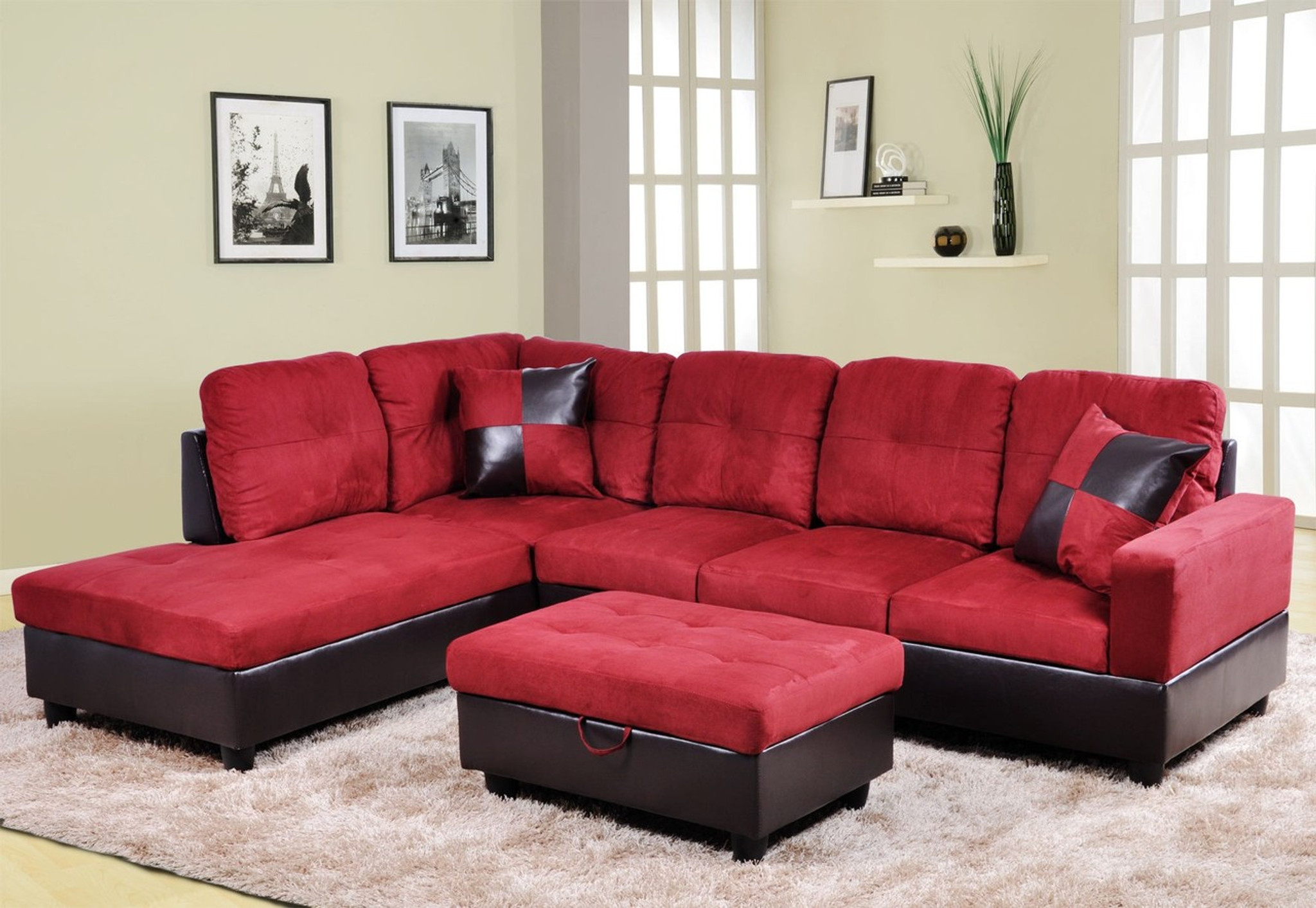 Admirable 2Pc Annie Sectional With Accent Pillows In Red Right Facing Sofa Squirreltailoven Fun Painted Chair Ideas Images Squirreltailovenorg