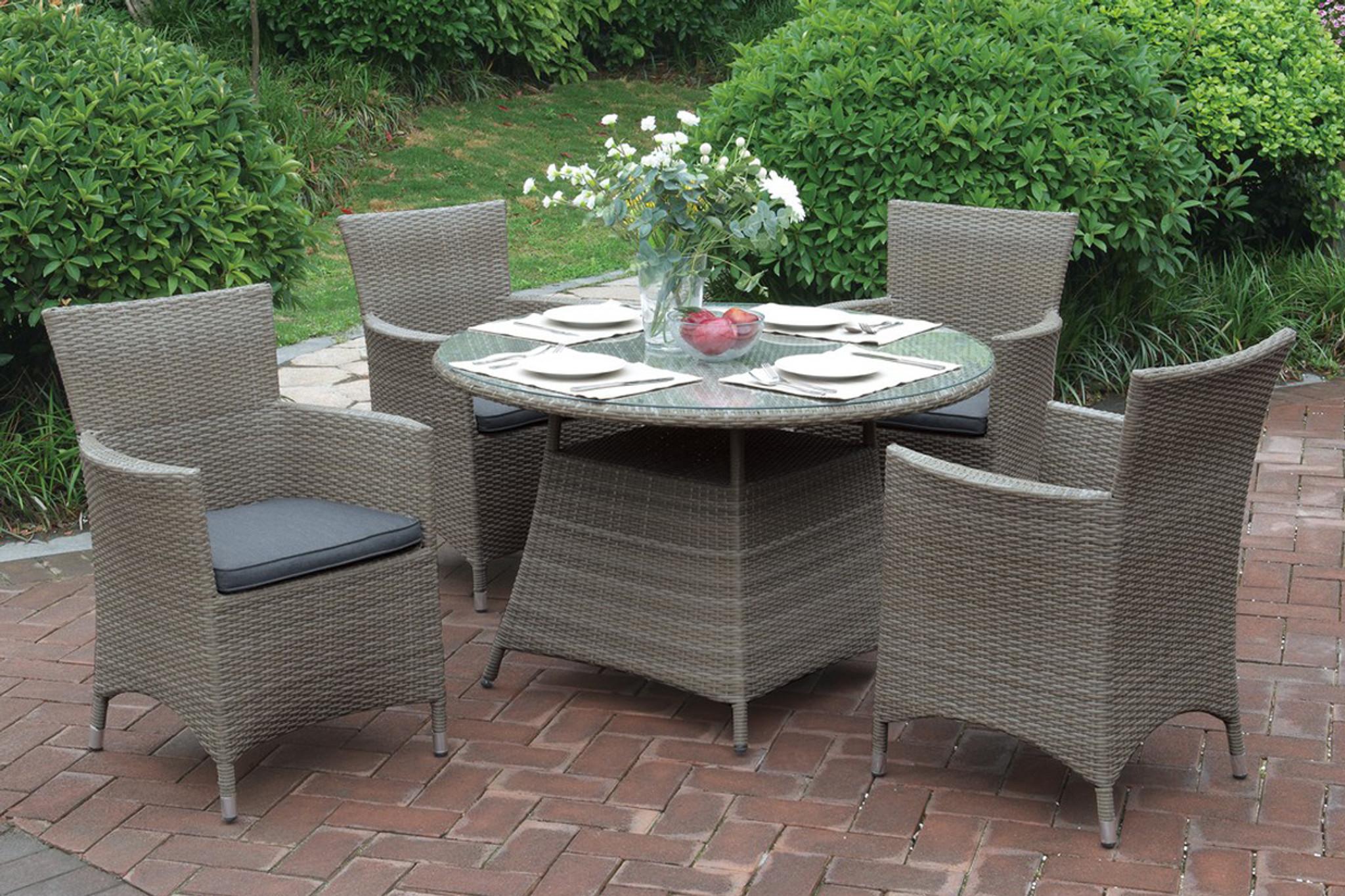 Kassa Mall Home Furniture 209 5pcs Tan Outdoor Patio Round Table Set