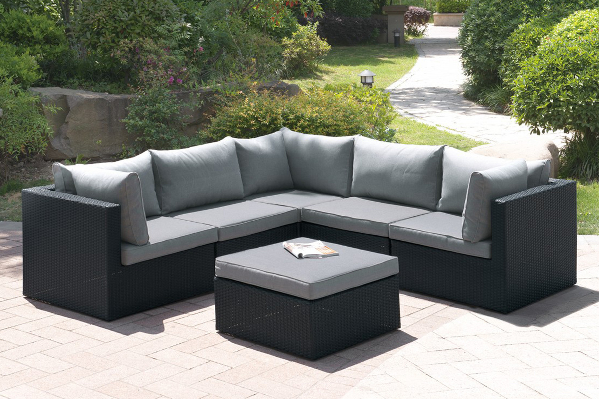KASSA MALL HOME FURNITURE   407   6PC OUTDOOR PATIO SOFA SET IN DARK BROWN  RESIN WICKER FINISH AND GREY SEAT CUSHIONS