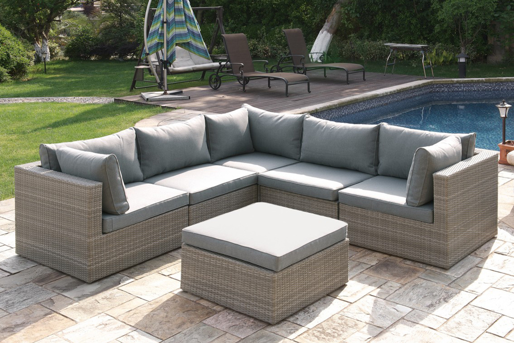 Awesome 6Pc Outdoor Patio Sofa Set In Tan Resin Wicker Finish With Ottoman Squirreltailoven Fun Painted Chair Ideas Images Squirreltailovenorg