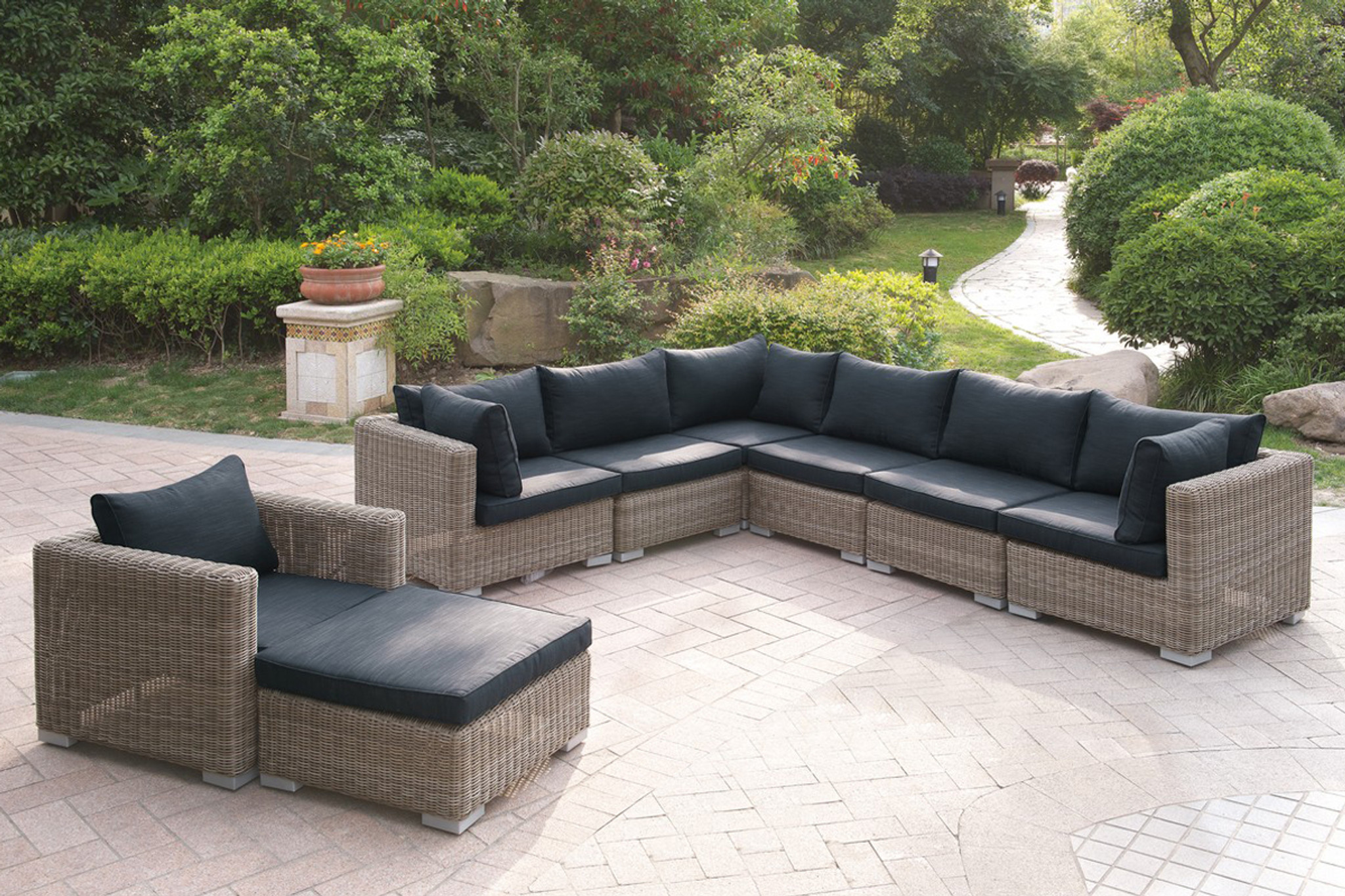 Swell 8Pc Outdoor Patio Sofa Set In Tan Resin Wicker Finish And Black Seat Cushions Home Interior And Landscaping Oversignezvosmurscom