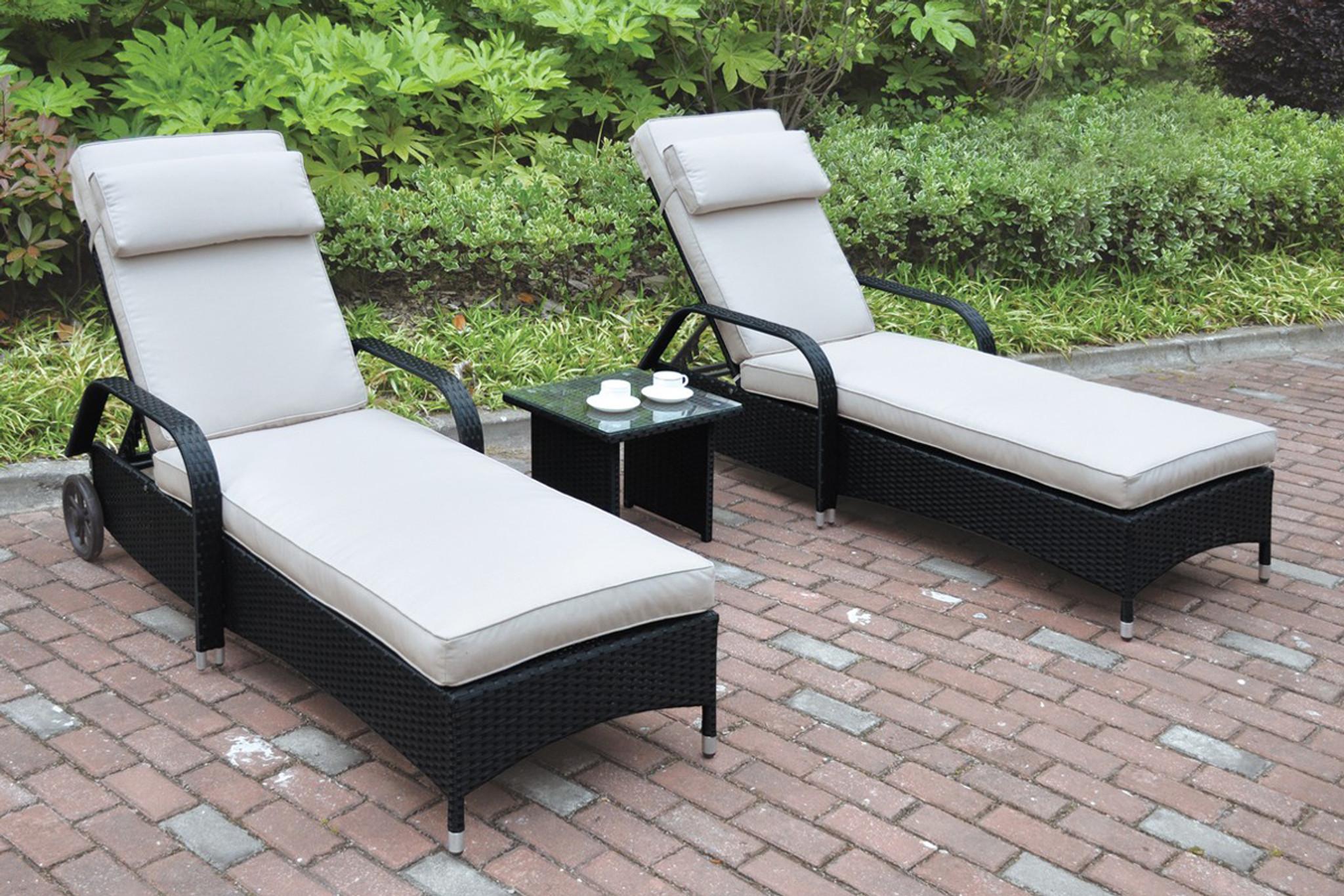 Kassa Mall Home Furniture 430 3pc Outdoor Patio Lounger Set In Dark Brown Resin Walker Finish