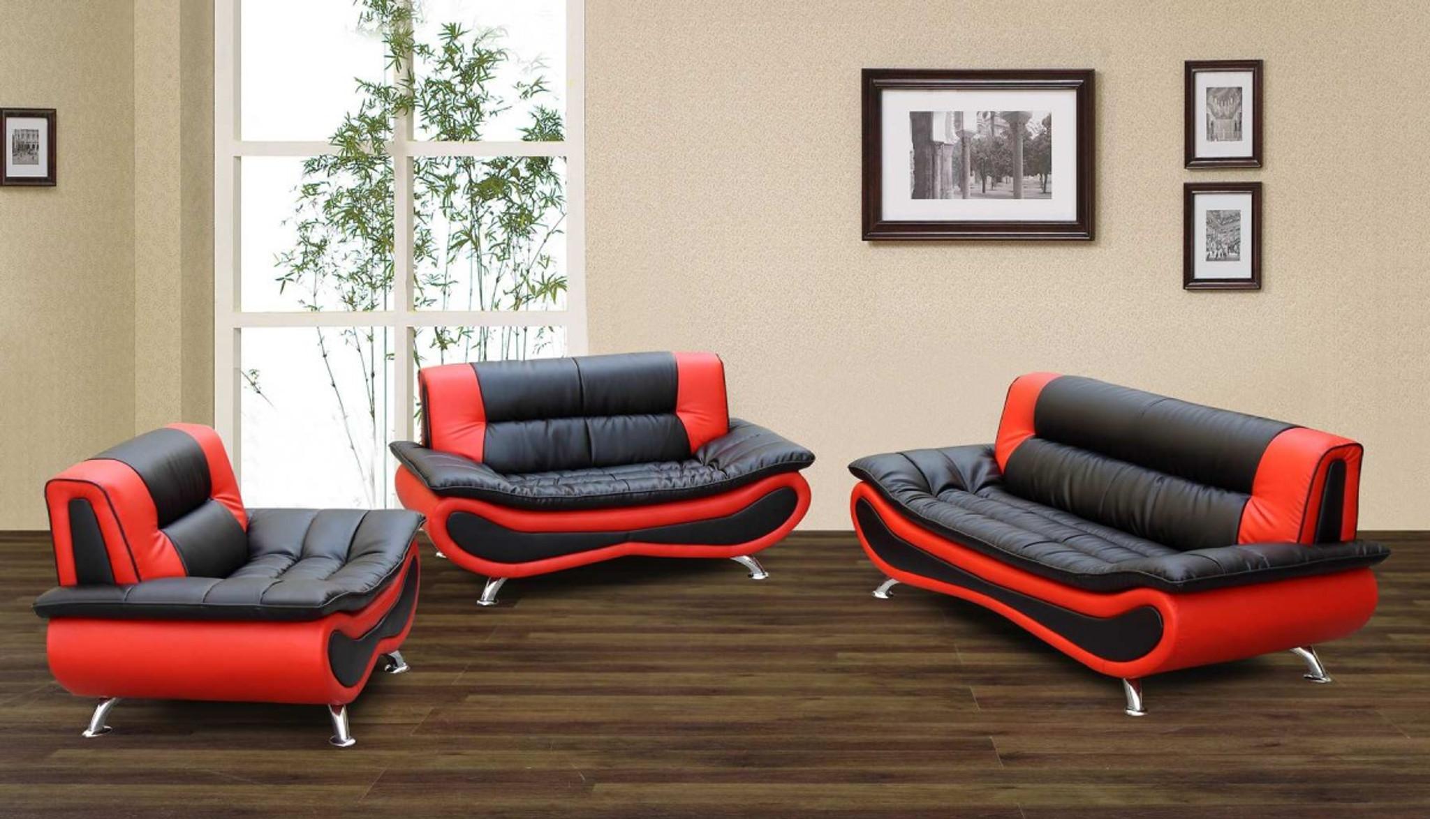 Logan Black And Orange Sofa Loveseat With Chair 3 Pcs Set