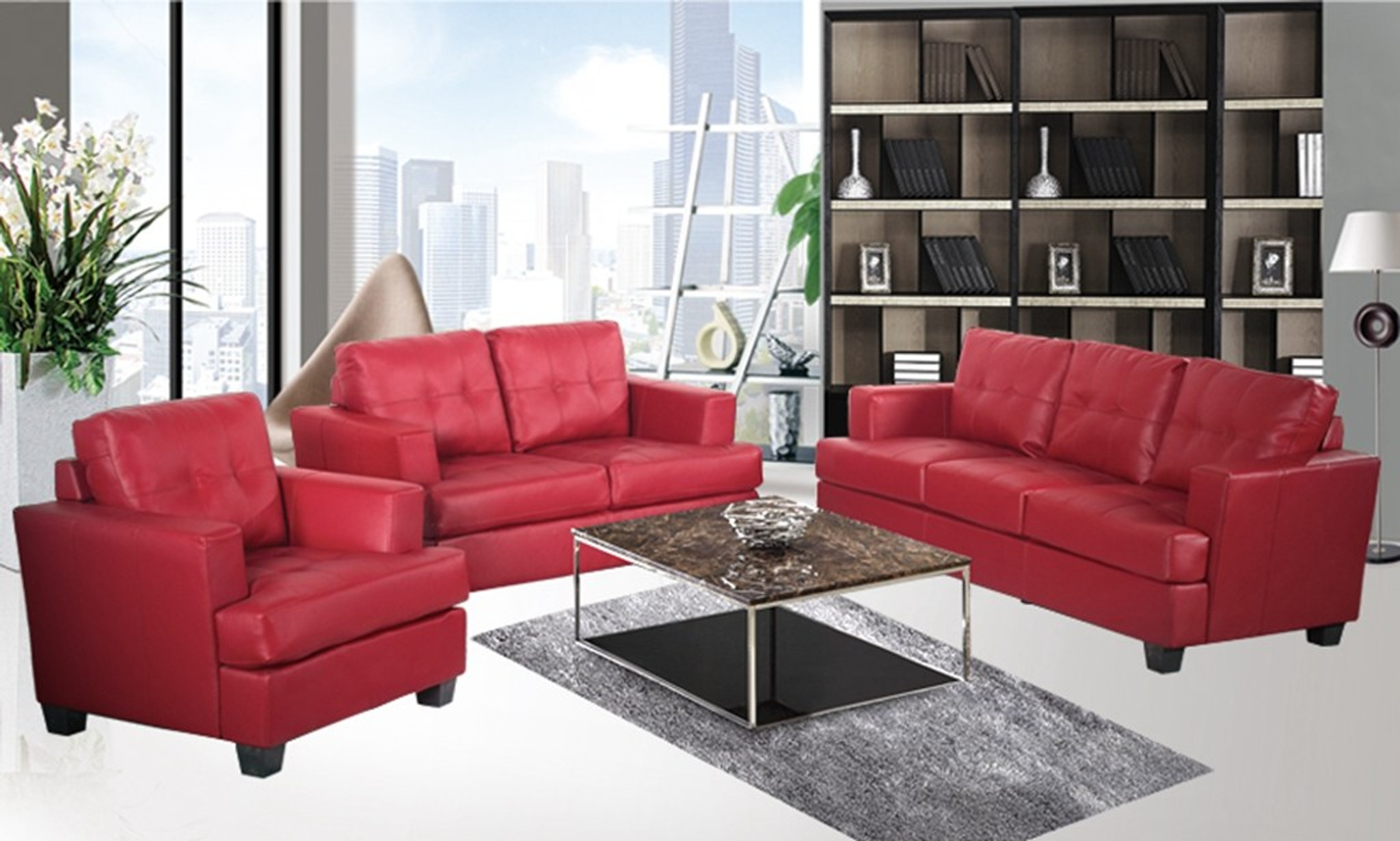 NICHOLAS RED SOFA LOVESEAT WITH CHAIR 3 PCS Set