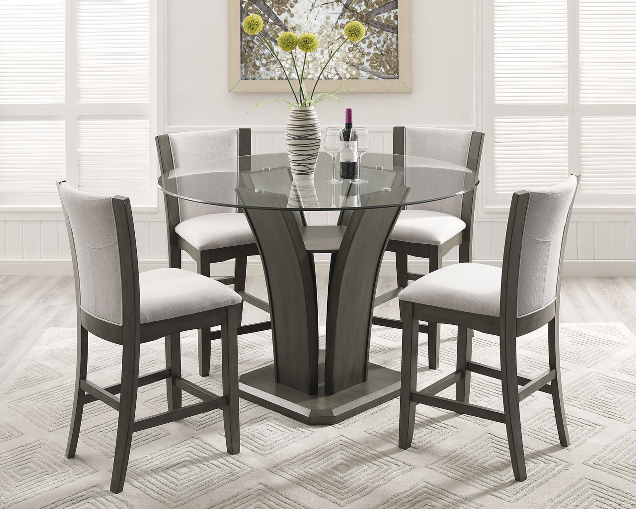 CAMELIA COUNTER HEIGHT DINING TABLE TOP 5 PC Set - Grey