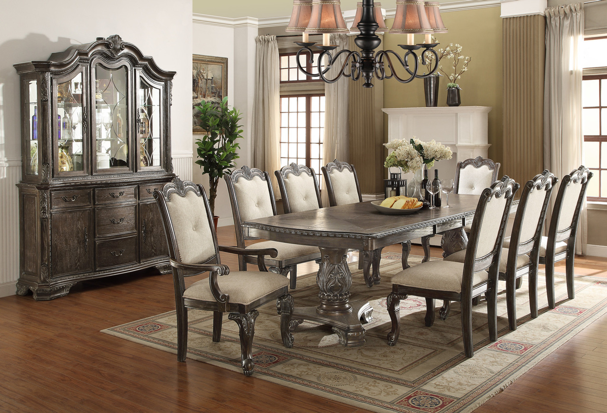 2151 Gy Kiera Dining Table Top 5 Piece Set Grey Collection By Crown Mark