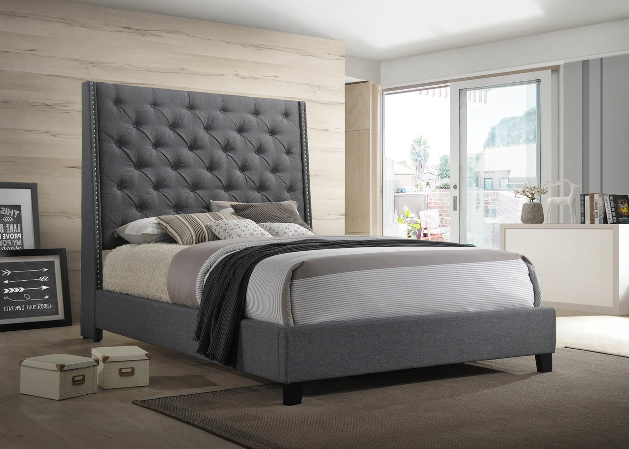 reputable site cac79 cc40d CHANTILLY BED IN GRAY TALL TUFTED HEADBOARD