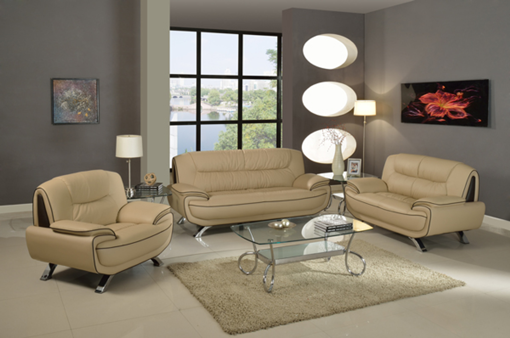 KASSA MALL HOME FURNITURE - U405 CAP/BROWN - CONTEMPORARY SOFA LOVESEAT SET UPHOLSTERED IN CUPPUCINO BROWN LEATHER