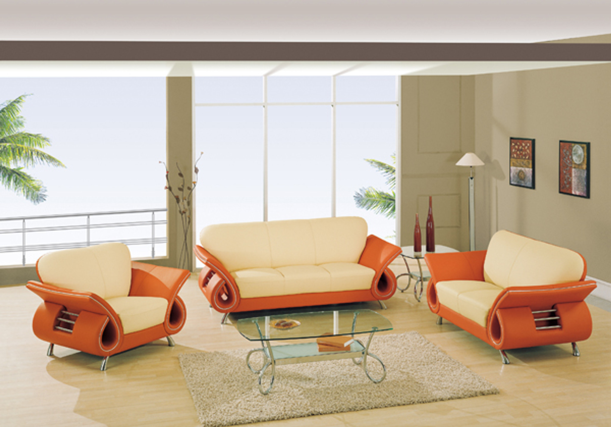 KASSA MALL HOME FURNITURE - U559 Beige/Orange - Beige/Orange Leather ...
