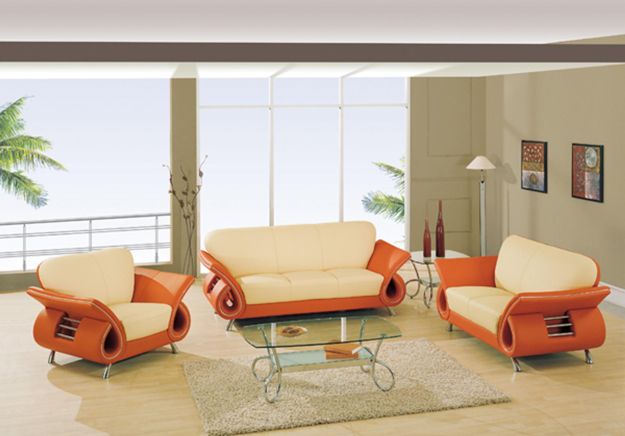 Kassa Mall Home Furniture U559 Beige Orange Beige Orange Leather Sofa Loveseat Set