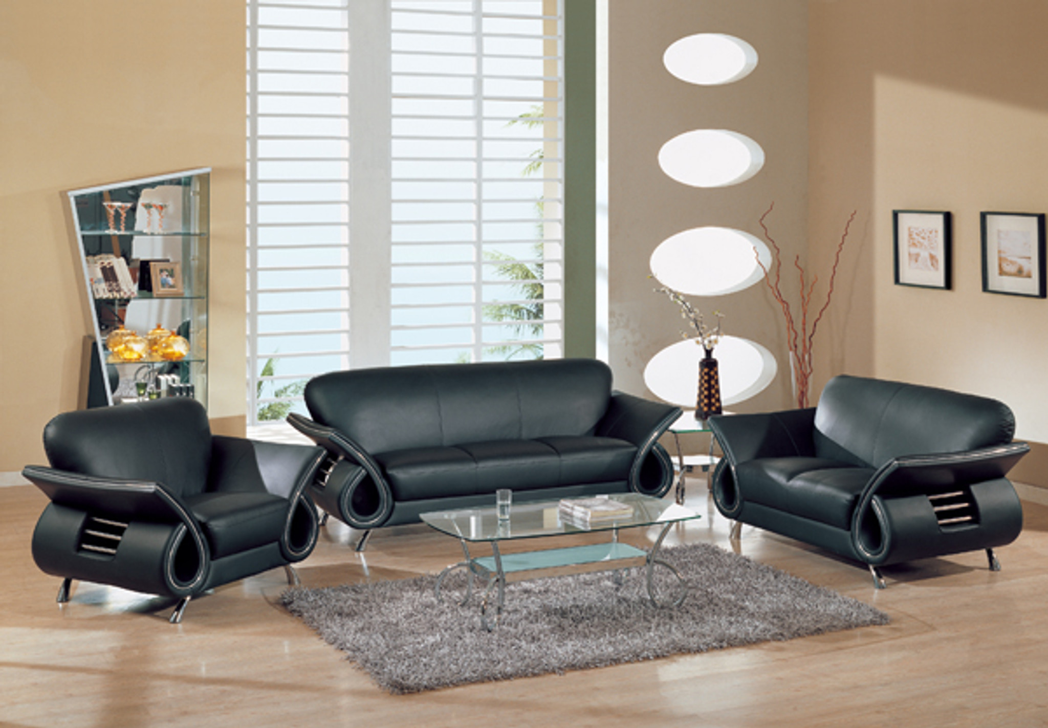 SEAN CONTEMPORARY LEATHER SOFA AND LOVESEAT IN BLACK