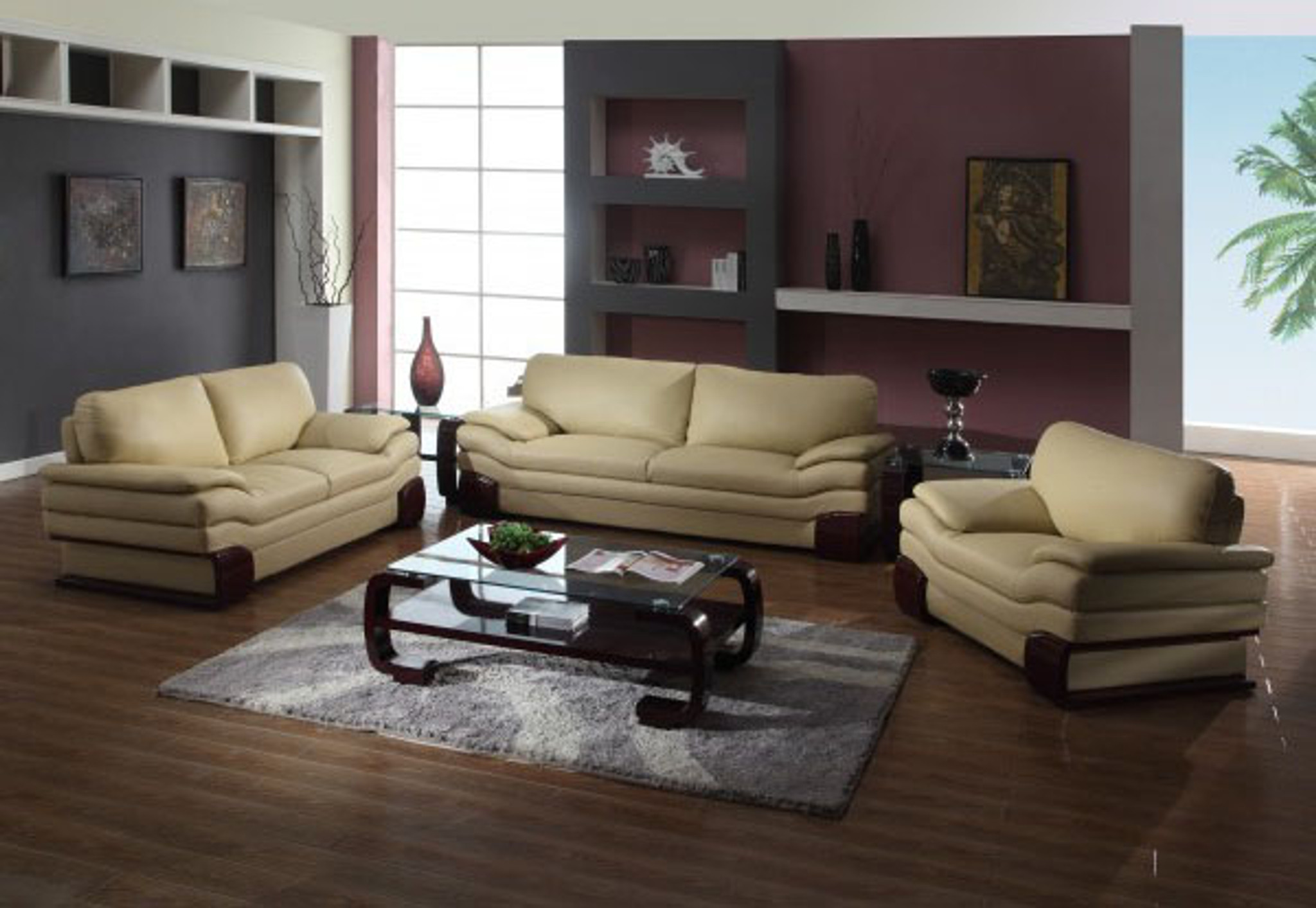 Awe Inspiring Cecile Leather Sofa And Loveseat In Cappuccino Gmtry Best Dining Table And Chair Ideas Images Gmtryco