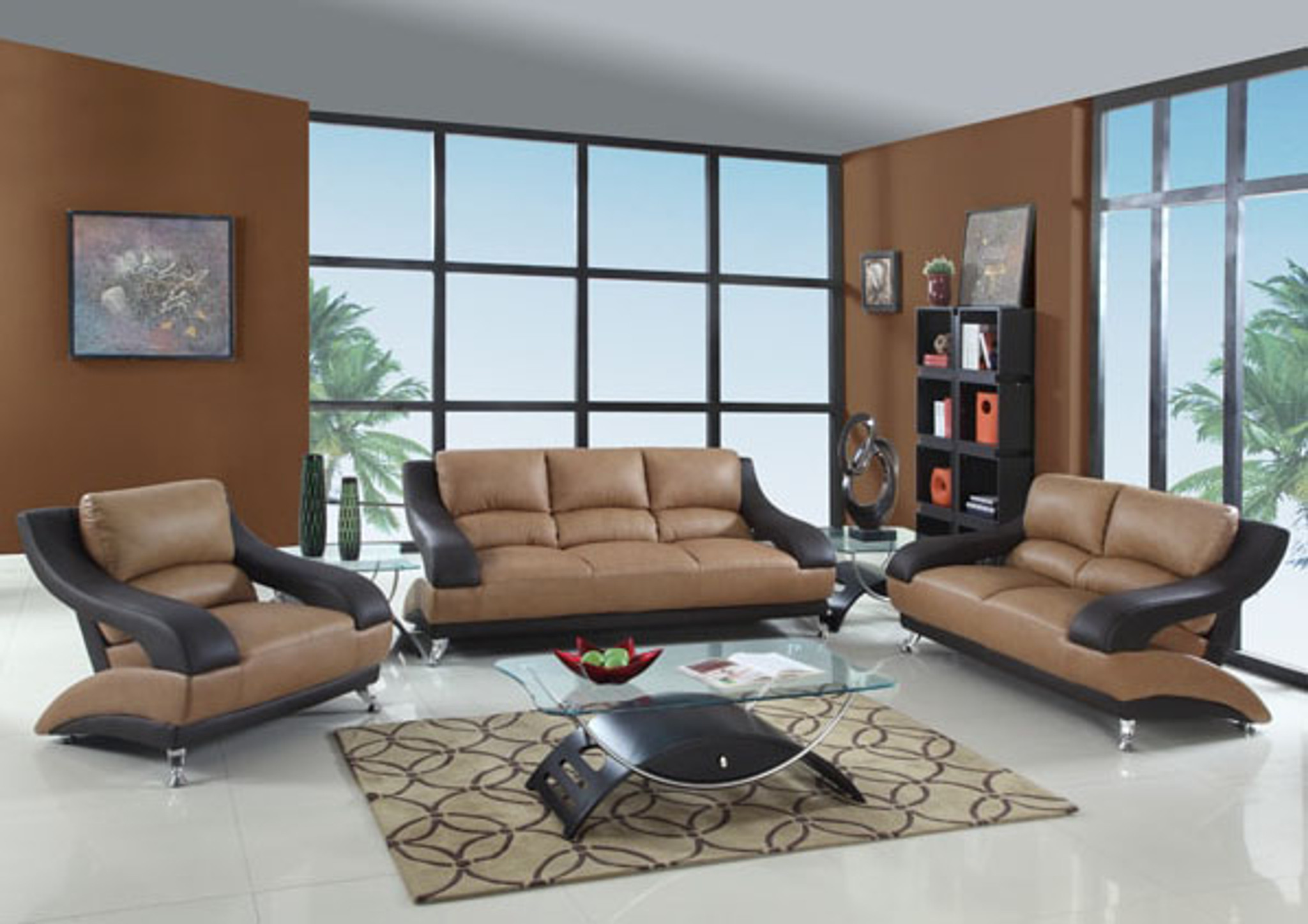 MARCUS LEATHER SOFA AND LOVESEAT IN TAN