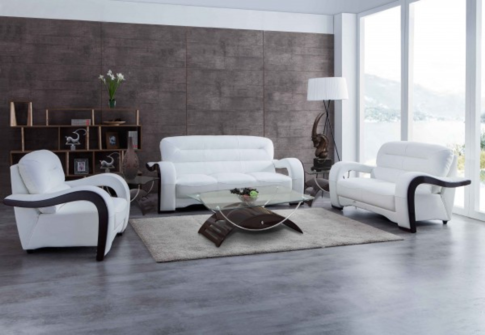 Julia Contemporary Leather Sofa And Loveseat In White