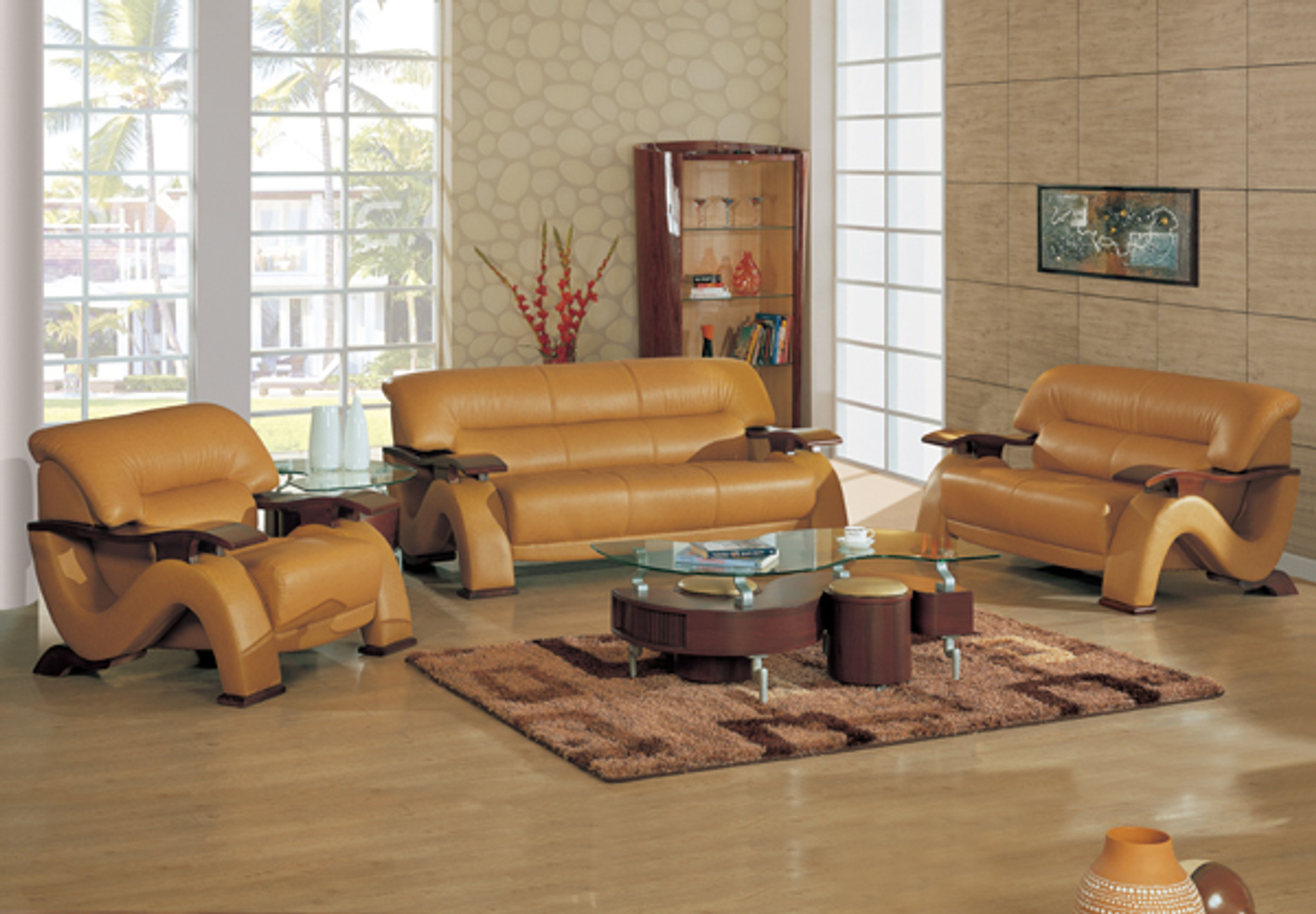 CHICAGO CONTEMPORARY LEATHER SOFA AND LOVESEAT IN BROWN