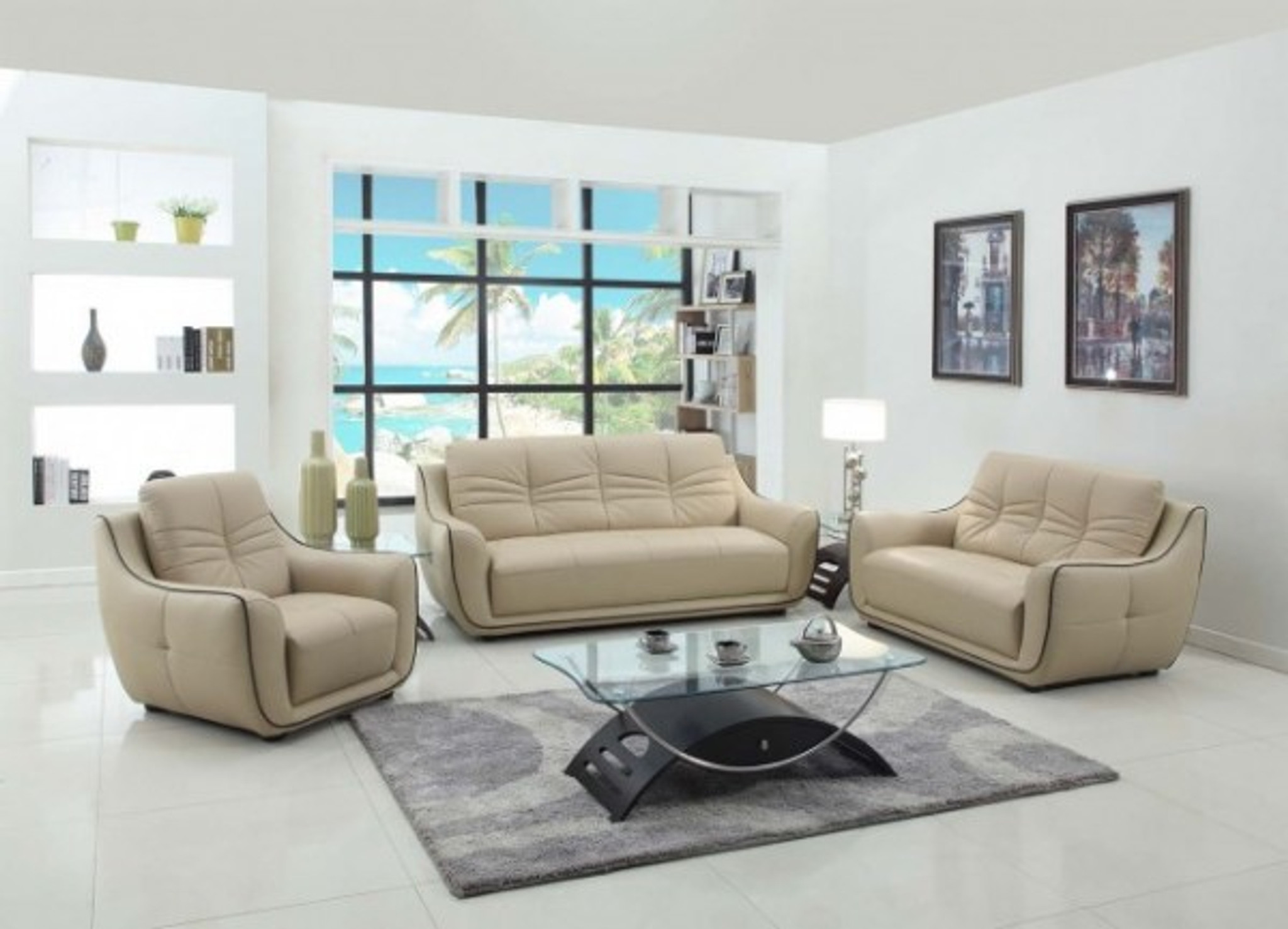 Picture of: Kassa Mall Home Furniture U2088 Beige Fashionable Sofa Set In Beige Leather