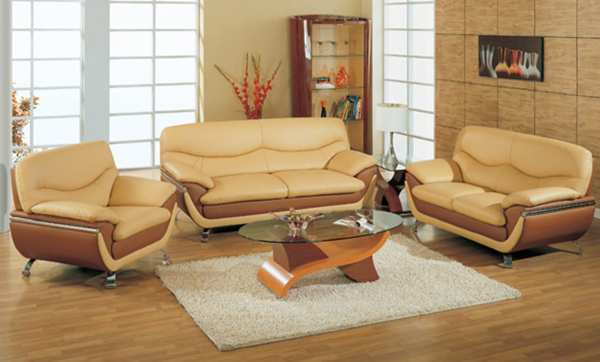 PETRO BONDED LEATHER SOFA AND LOVESEAT IN CAPPUCCINO