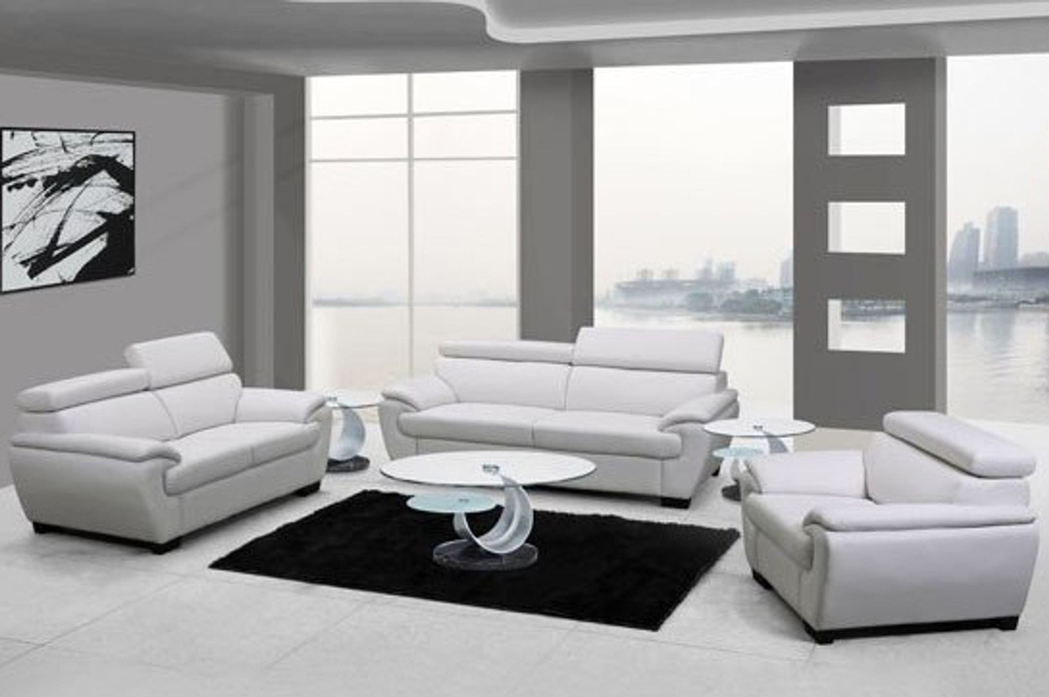 ZENON MODERN LEATHER SOFA AND LOVESEAT IN WHITE