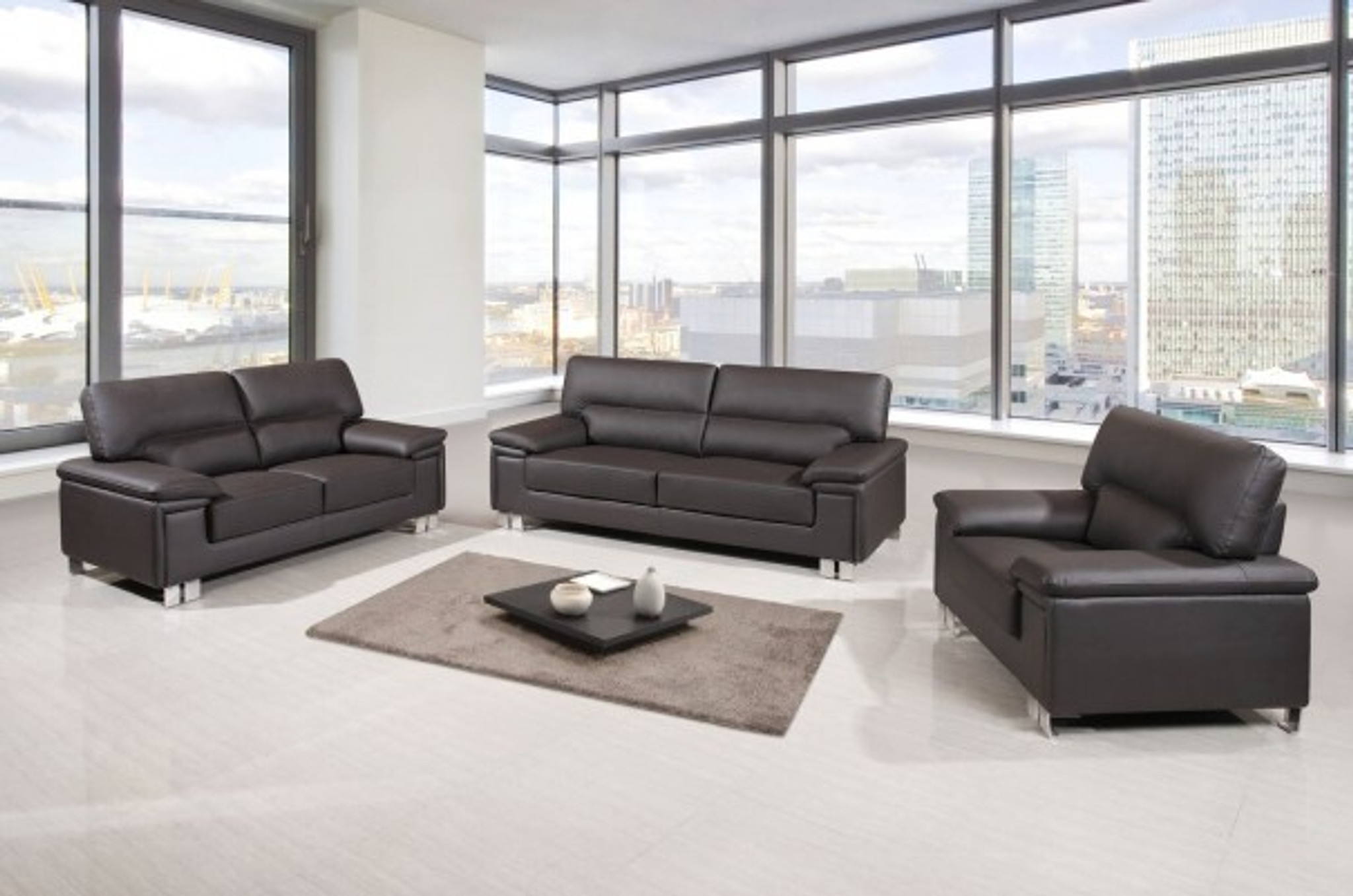 Winnie Contemporary Leather Sofa And Loveseat In Dark Brown