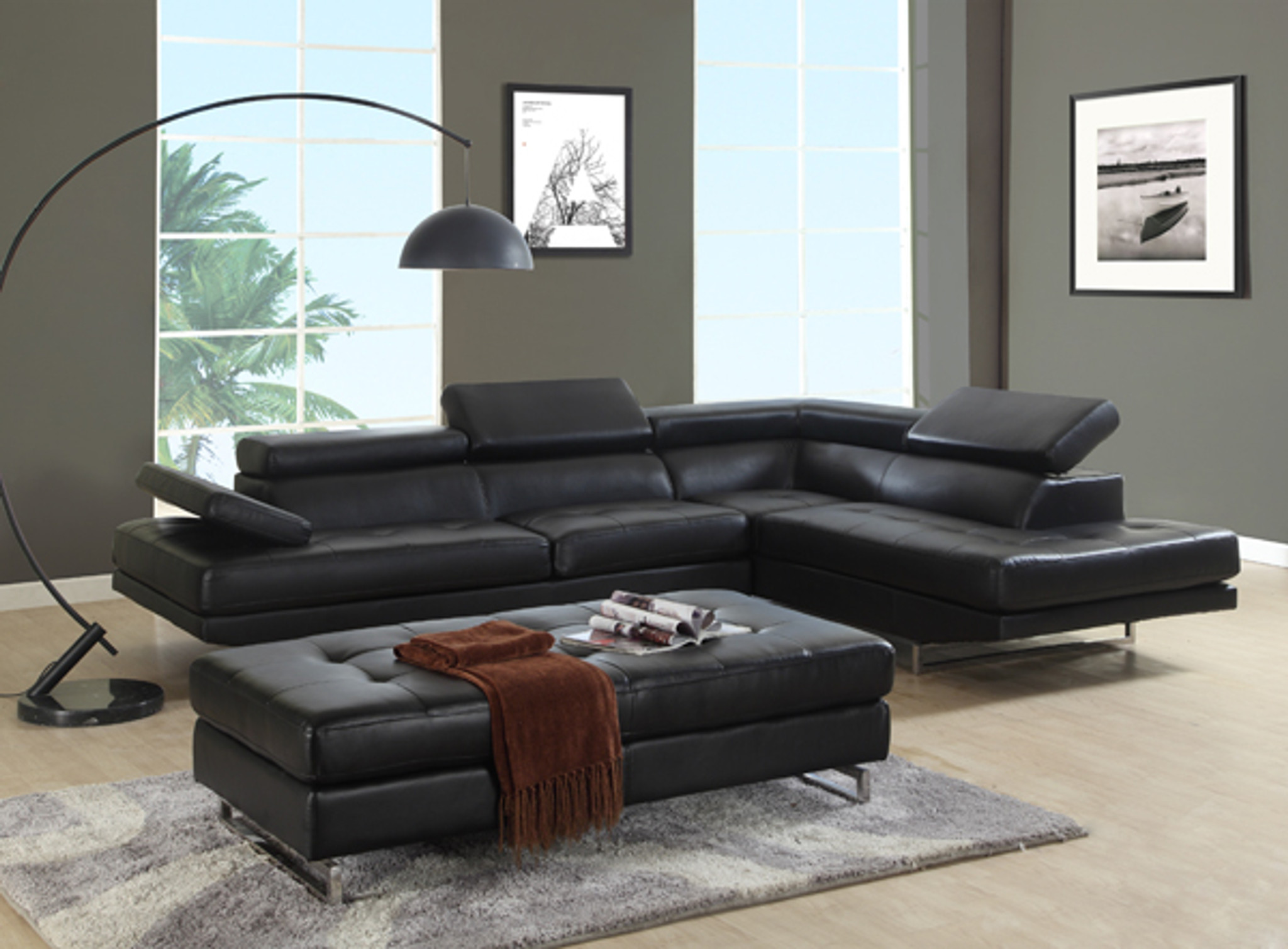 Kassa Mall Home Furniture U8136 In Black Modern Sectional Set U8136 In Black Leather