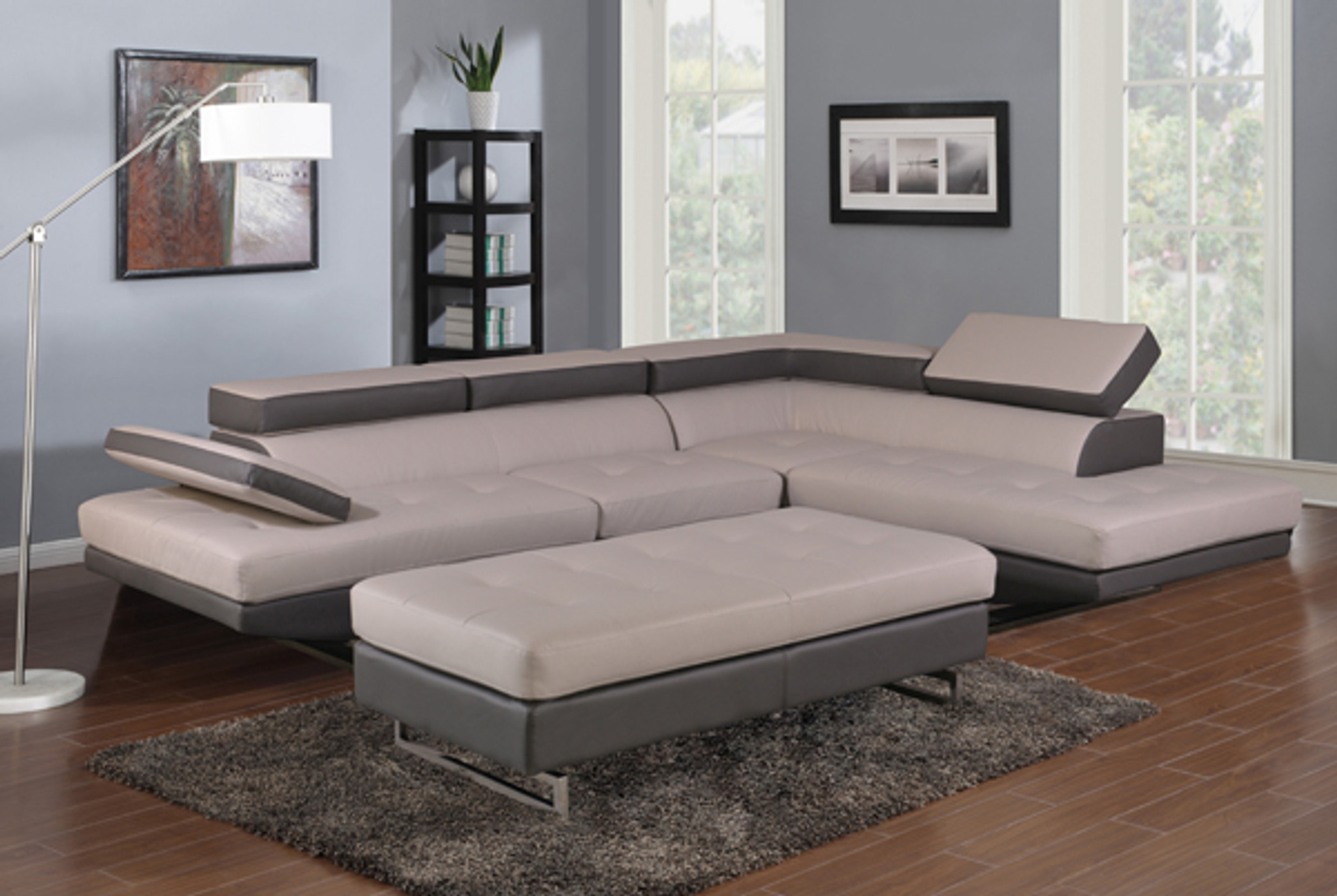 fashionable sectional in light gray dark gray leather