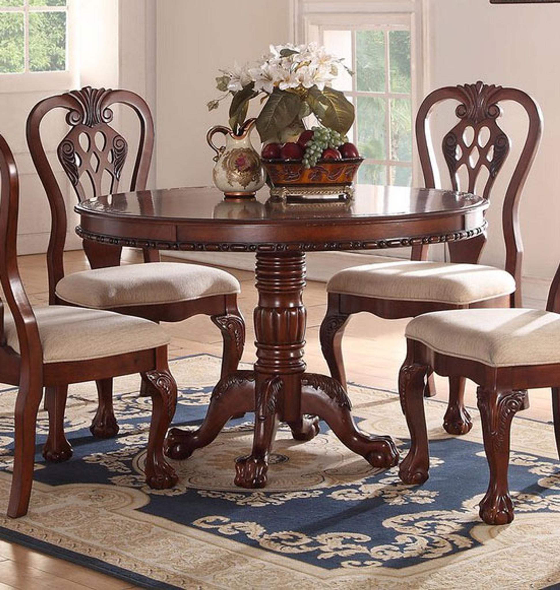 DARK CHERRY WOOD ROUND DINING TABLE