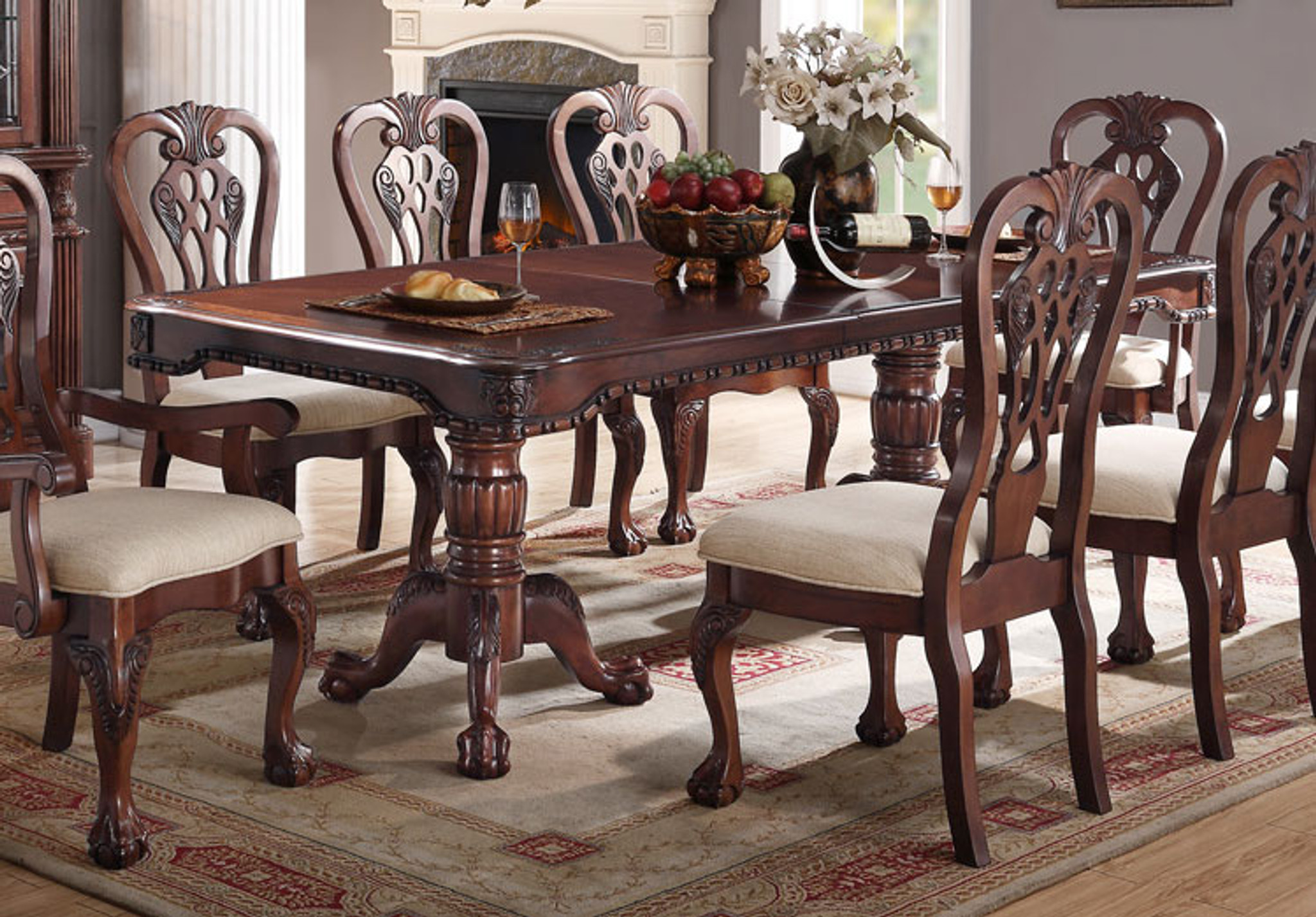 Wondrous Cherry Wood Rectangular Shape Dining Table Caraccident5 Cool Chair Designs And Ideas Caraccident5Info