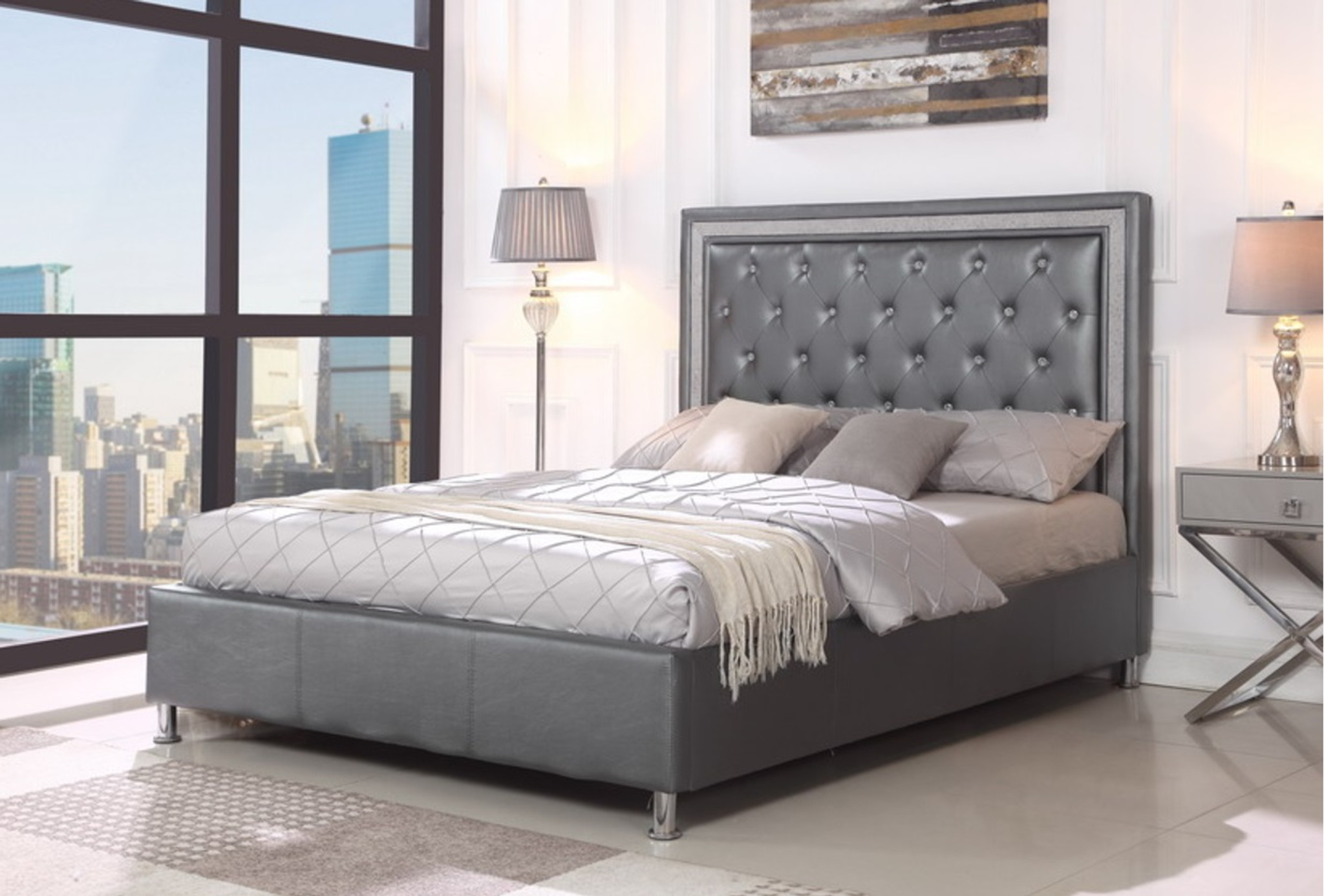 Miccaela Grey Leather Tufted Platform Bed No Boxspring Required