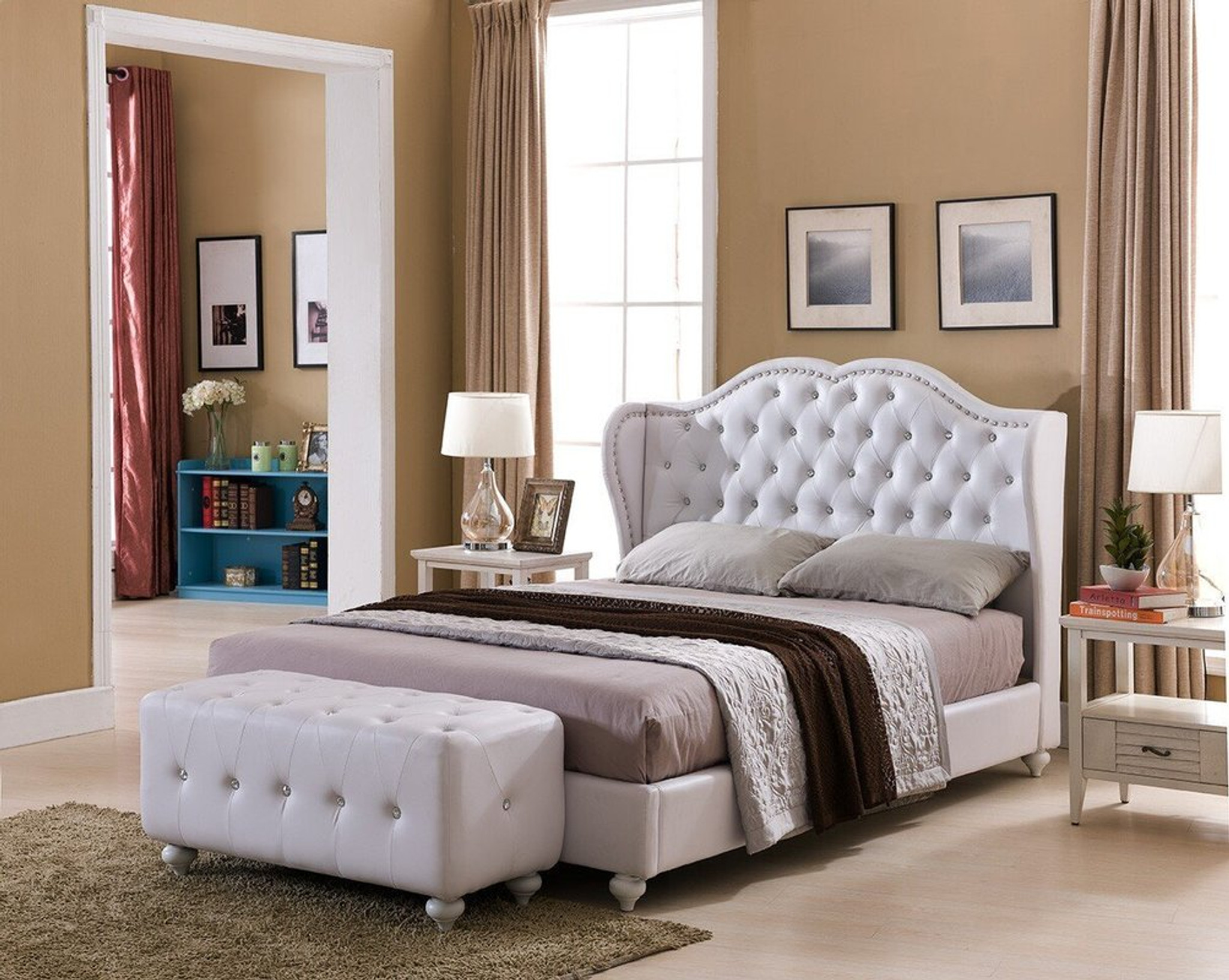 Picture of: Paradise Paradise White Faux Leather King Size Platform Bed Collection By Happy Homes