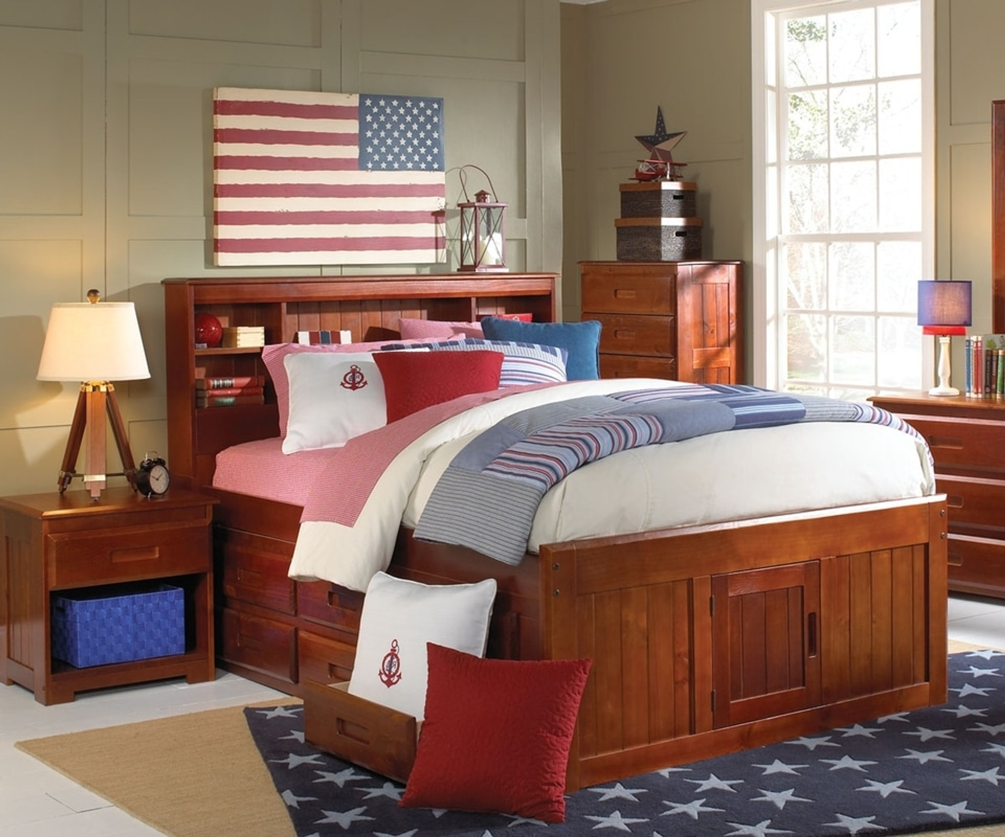Full Bookcase Headboard Captain Bed W Trundle 3 Drawers