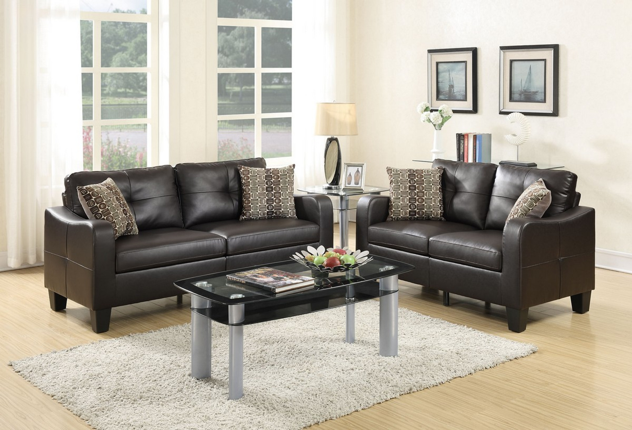 LOVESEAT SOFA SET WITH FOUR ACCENT PILLOWS AND IN ESPRESSO BONDED LEATHER