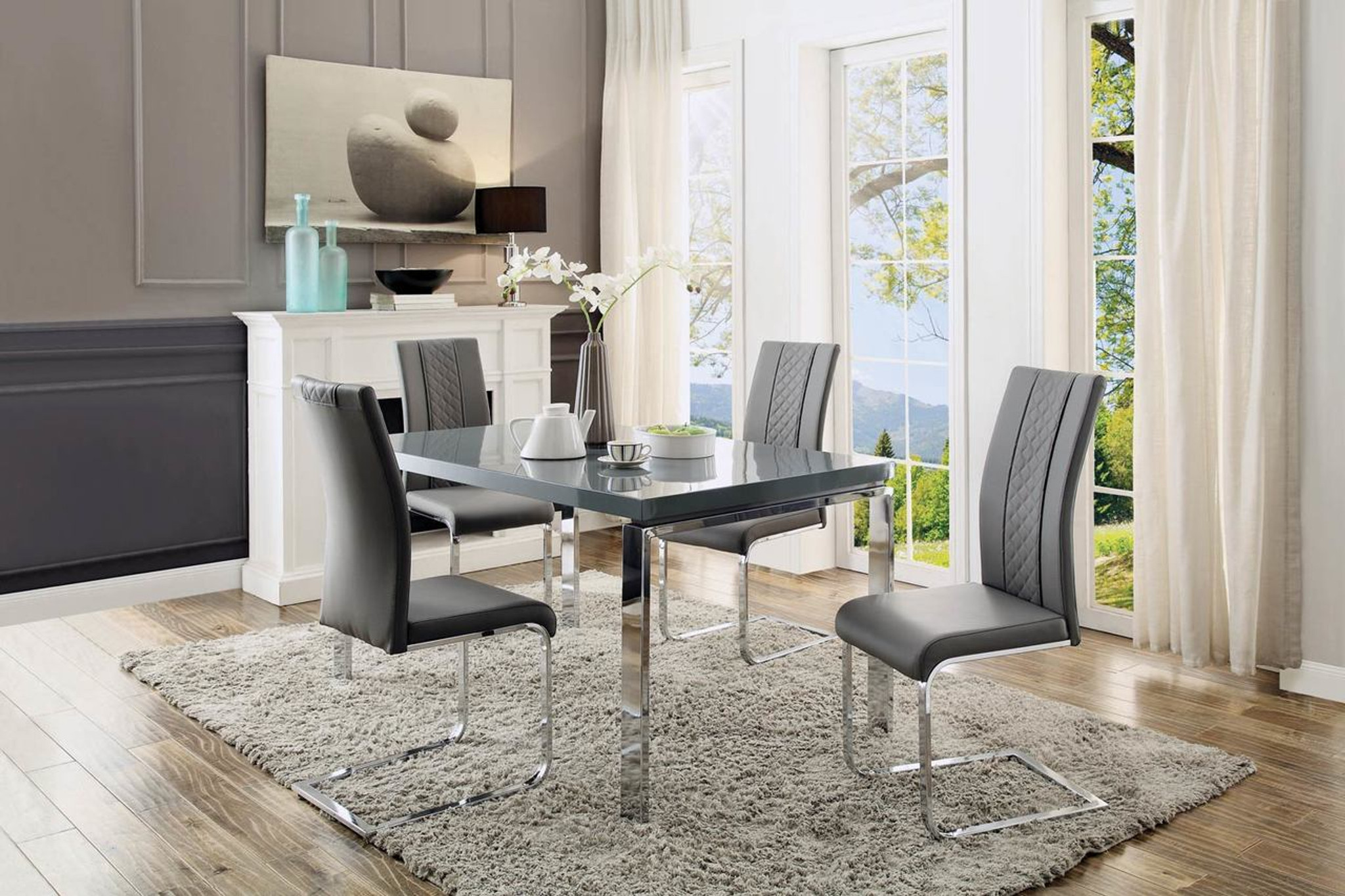 Remarkable Miami Collection Dining Table 5 Pcs Set Interior Design Ideas Philsoteloinfo