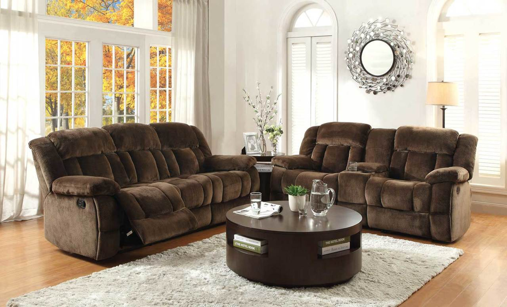 9636 Laurelton Reclining Sofa And Love Seat 2 Pcs Set Collection By Home Elegance