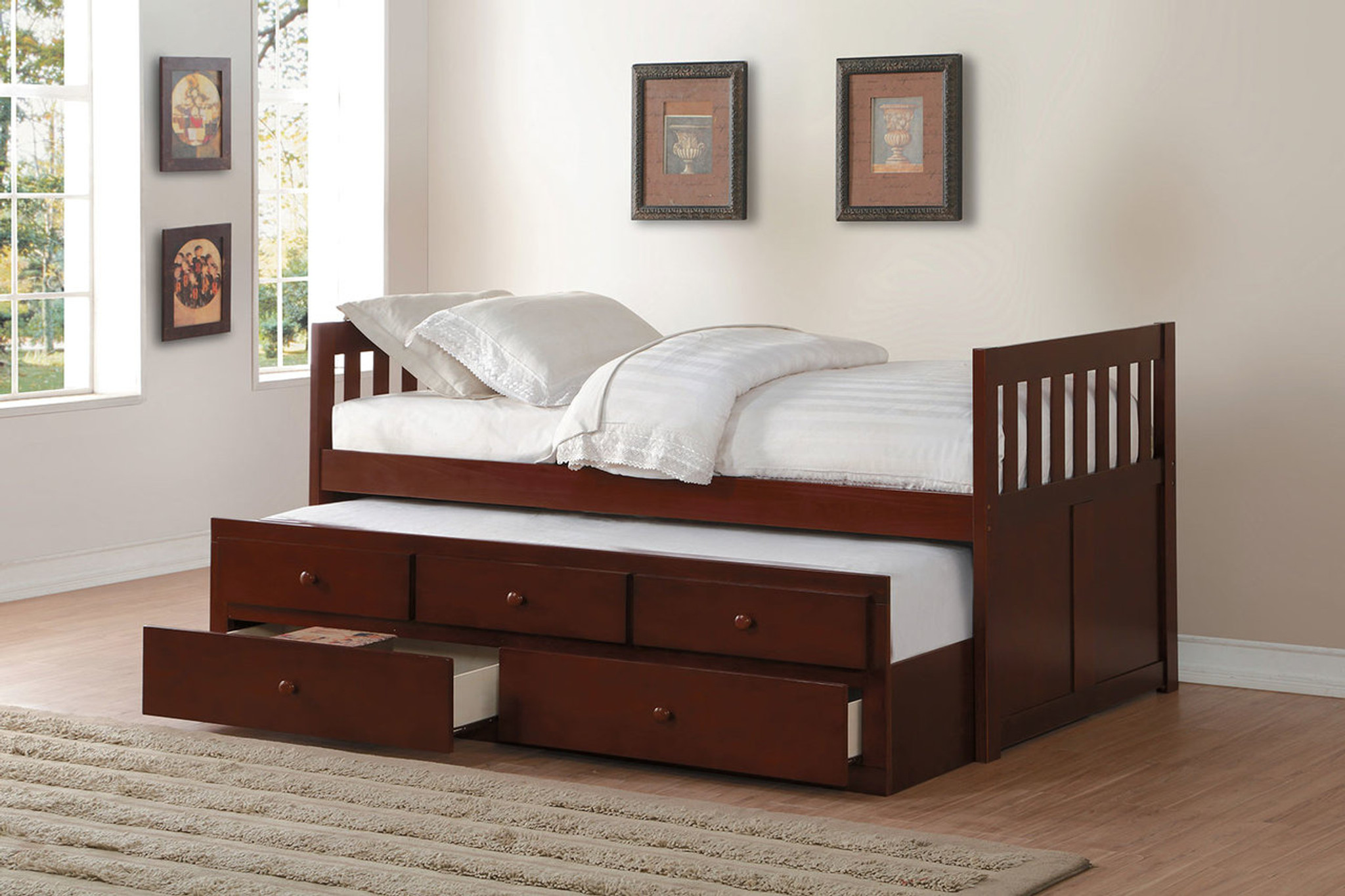 B2013prdc Rowe Twin Bed With Trundle And Storage Drawers Collection