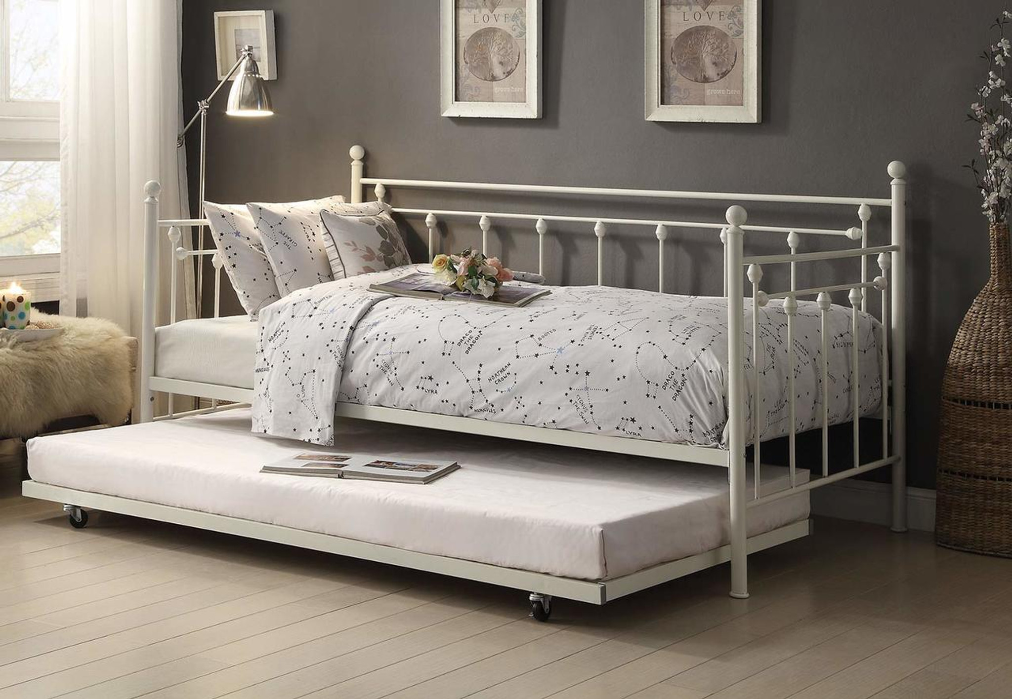4965w Nt Lorena Metal Daybed With Trundle Collection By Home Elegance