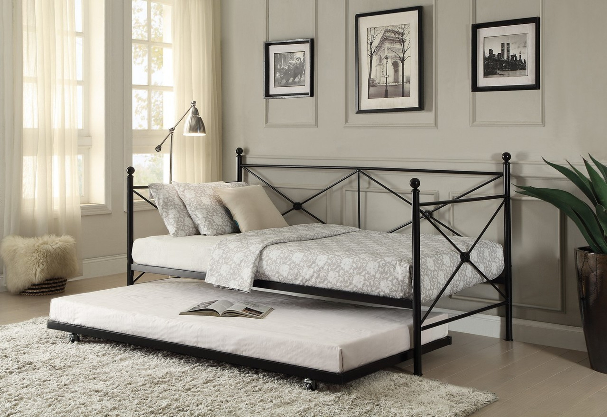 - 4964BK-NT JONES METAL DAYBED WITH TRUNDLE COLLECTION By Home Elegance