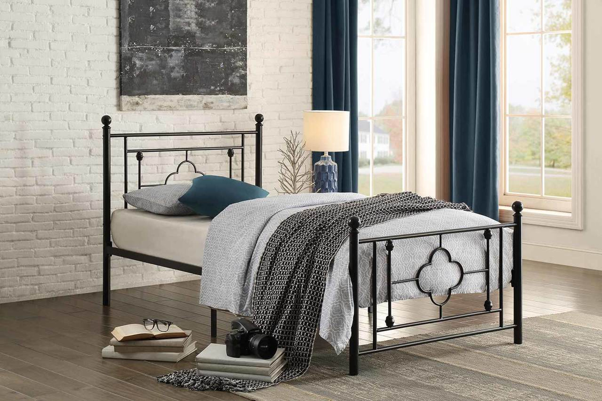 Morris collection metal platform bed 2051tbk
