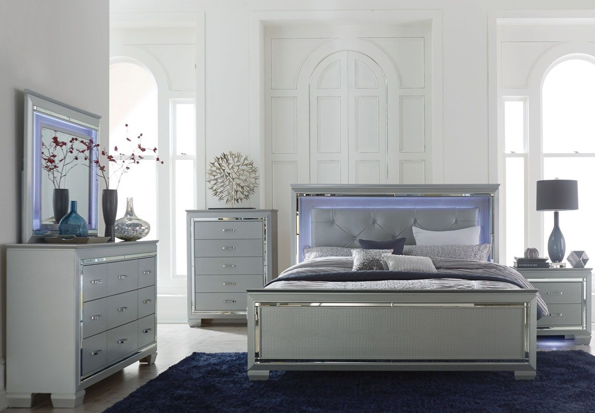 1916 Allura Silver Collection 6 Pcs Bedroom Set Collection By Home Elegance