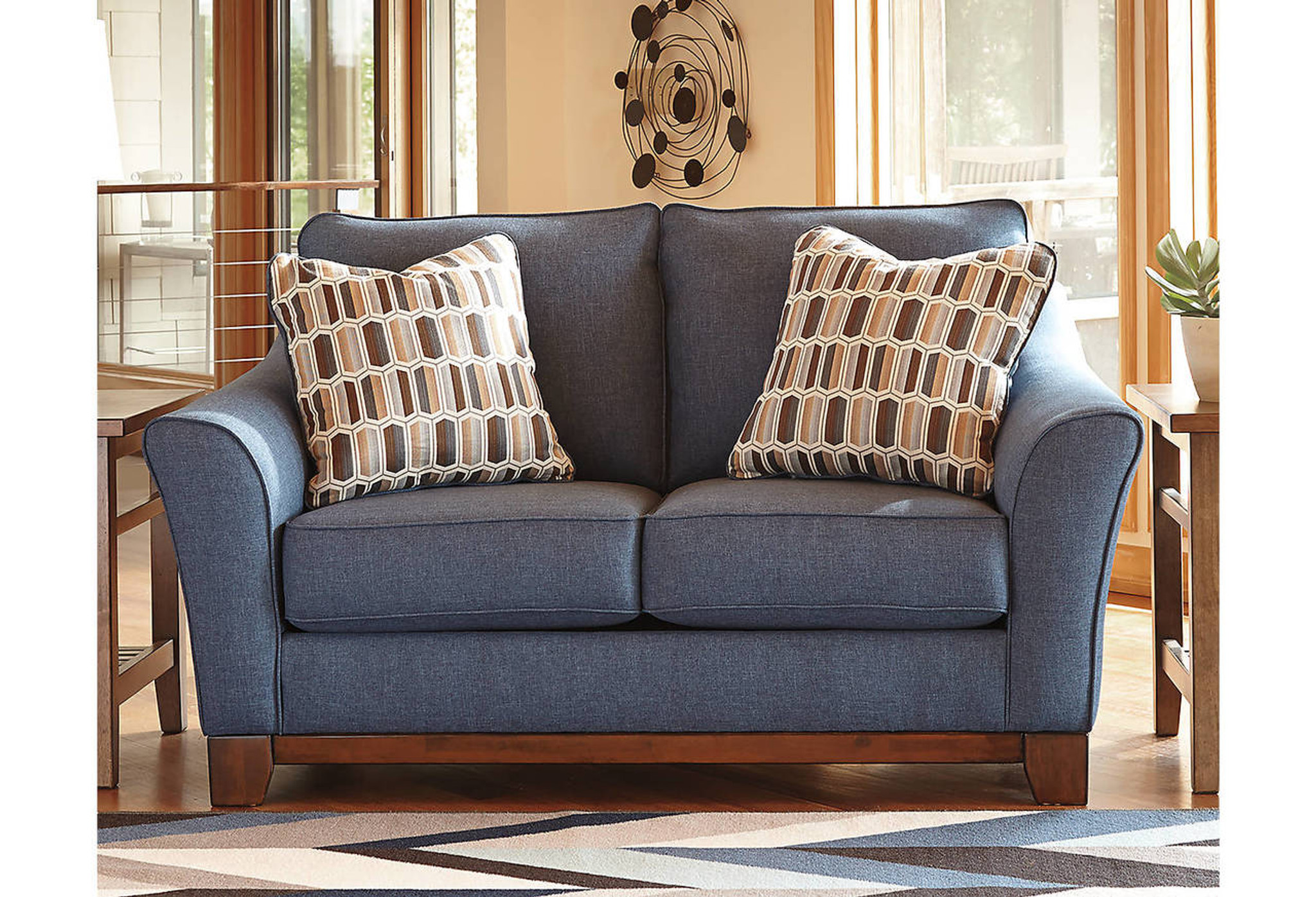 Picture of: 43807 38 35 Janley Denim Collection Sofa And Love Seat 2 Pcs Set Collection By Ashley Furniture