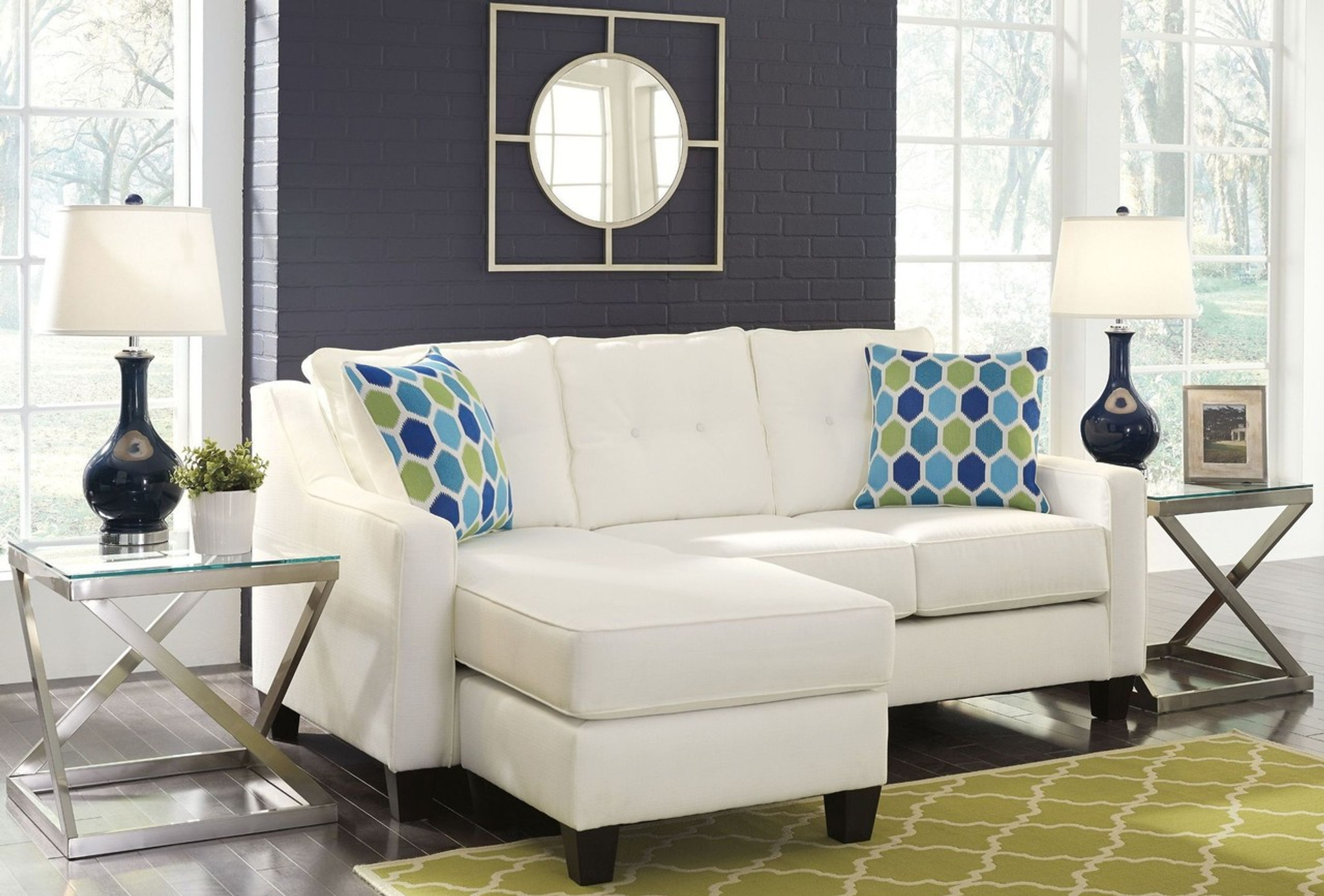 Pleasing Aldie Nuvella White Collection Queen Sofa Chaise Sleeper Home Interior And Landscaping Ologienasavecom