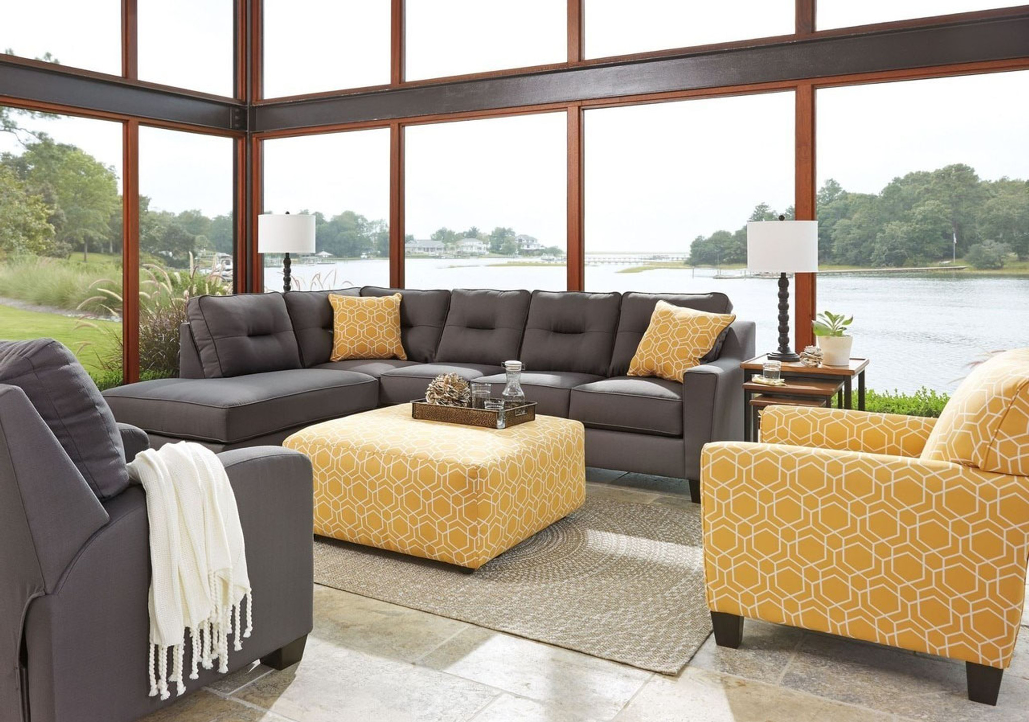 Superb Kirwin Nuvella Gray Collection Sectional Set Home Interior And Landscaping Palasignezvosmurscom