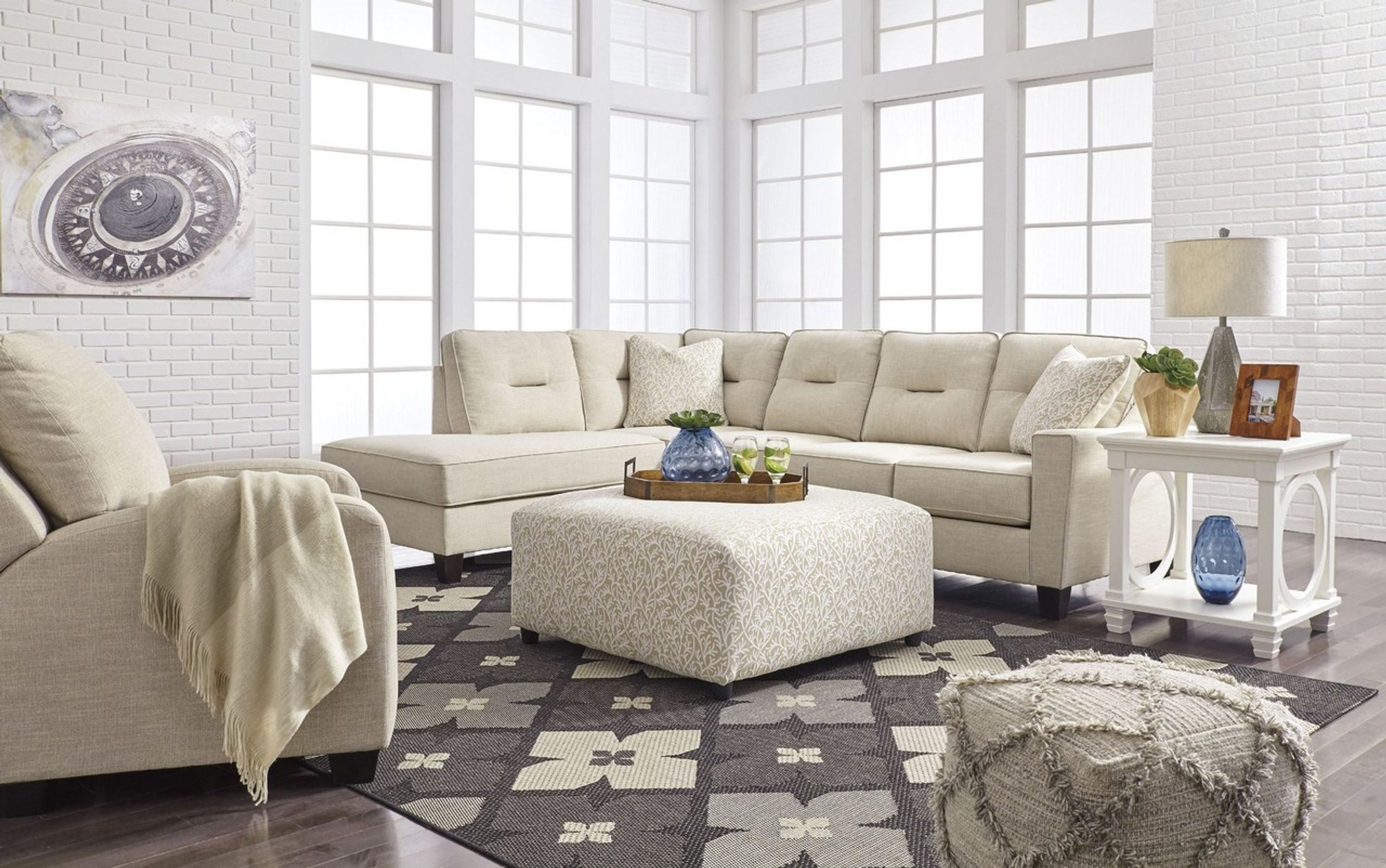 Marvelous Kirwin Nuvella Sand Collection Sectional Set Home Interior And Landscaping Palasignezvosmurscom