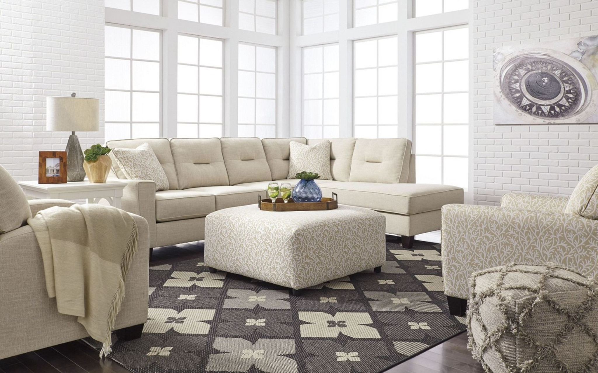 Excellent Kirwin Nuvella Sand Collection Sectional Set Home Interior And Landscaping Palasignezvosmurscom