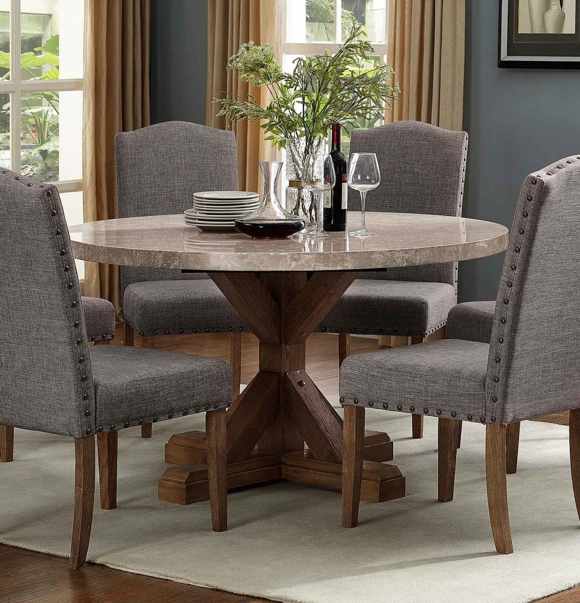 1211t 54 R Vesper Round Marble Dining Table Collection By Crown Mark