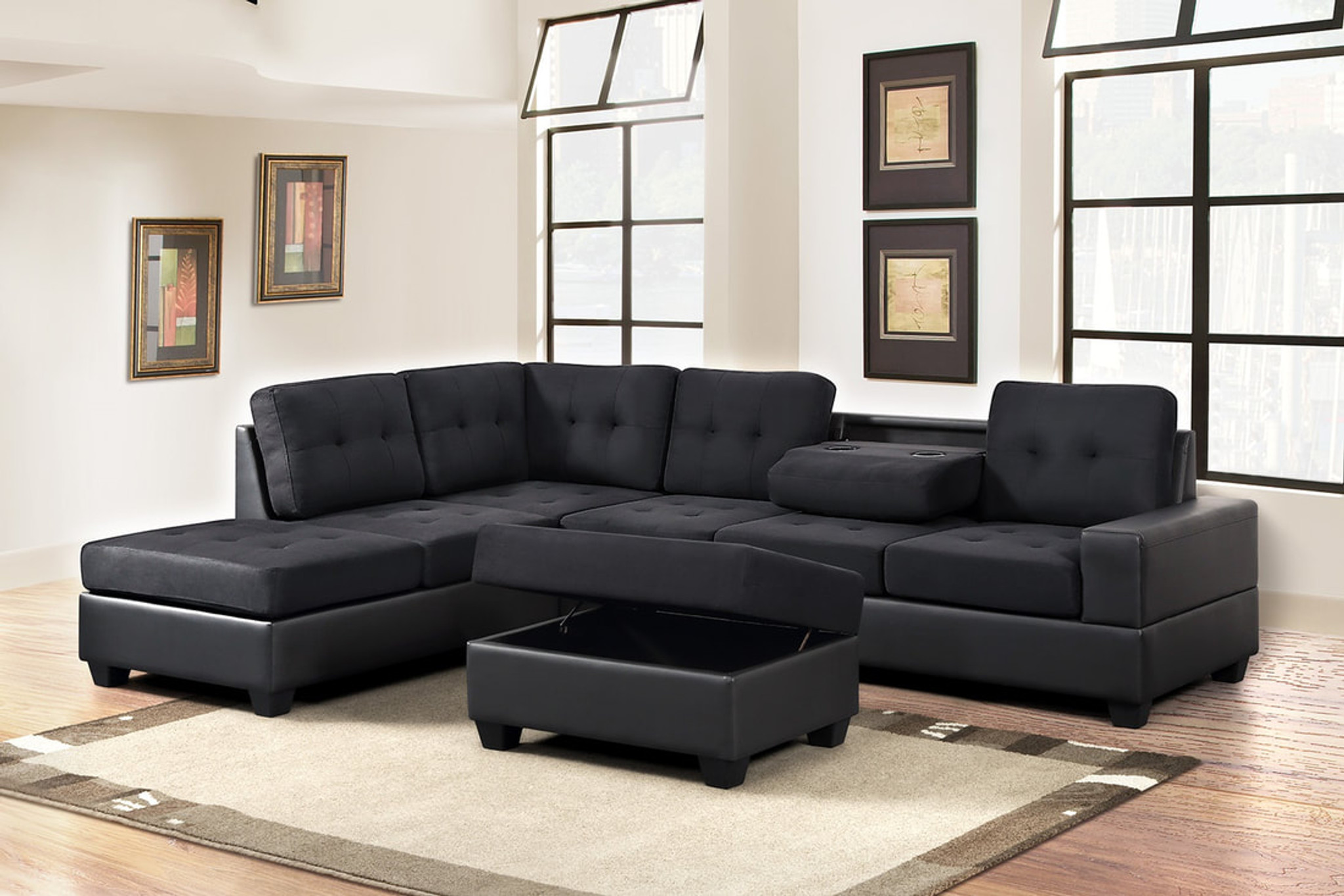 3 PCS HEIGHTS THICK FABRIC & BONDED LEATHER SECTIONAL WITH DROP DOWN CUP  HOLDER WITH OTTOMAN IN BLACK