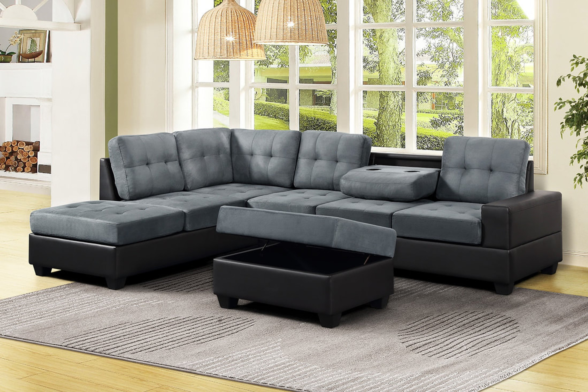 Remarkable 3 Pcs Heights Thick Fabric Bonded Leather Sectional With Drop Down Cup Holder With Ottoman In Gray Theyellowbook Wood Chair Design Ideas Theyellowbookinfo