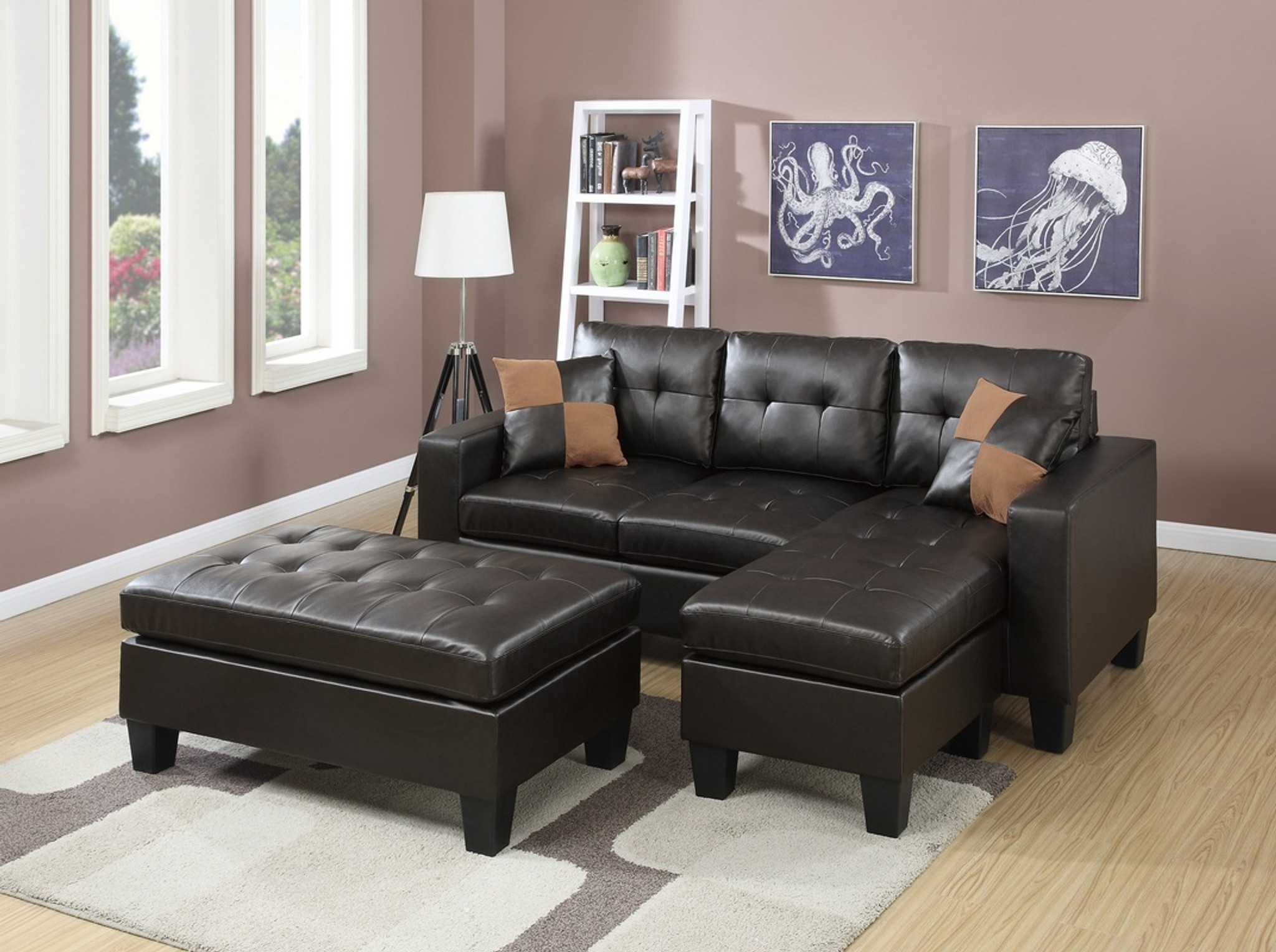 Sensational Molly All In One Sectional Set With Ottoman In Espresso Machost Co Dining Chair Design Ideas Machostcouk