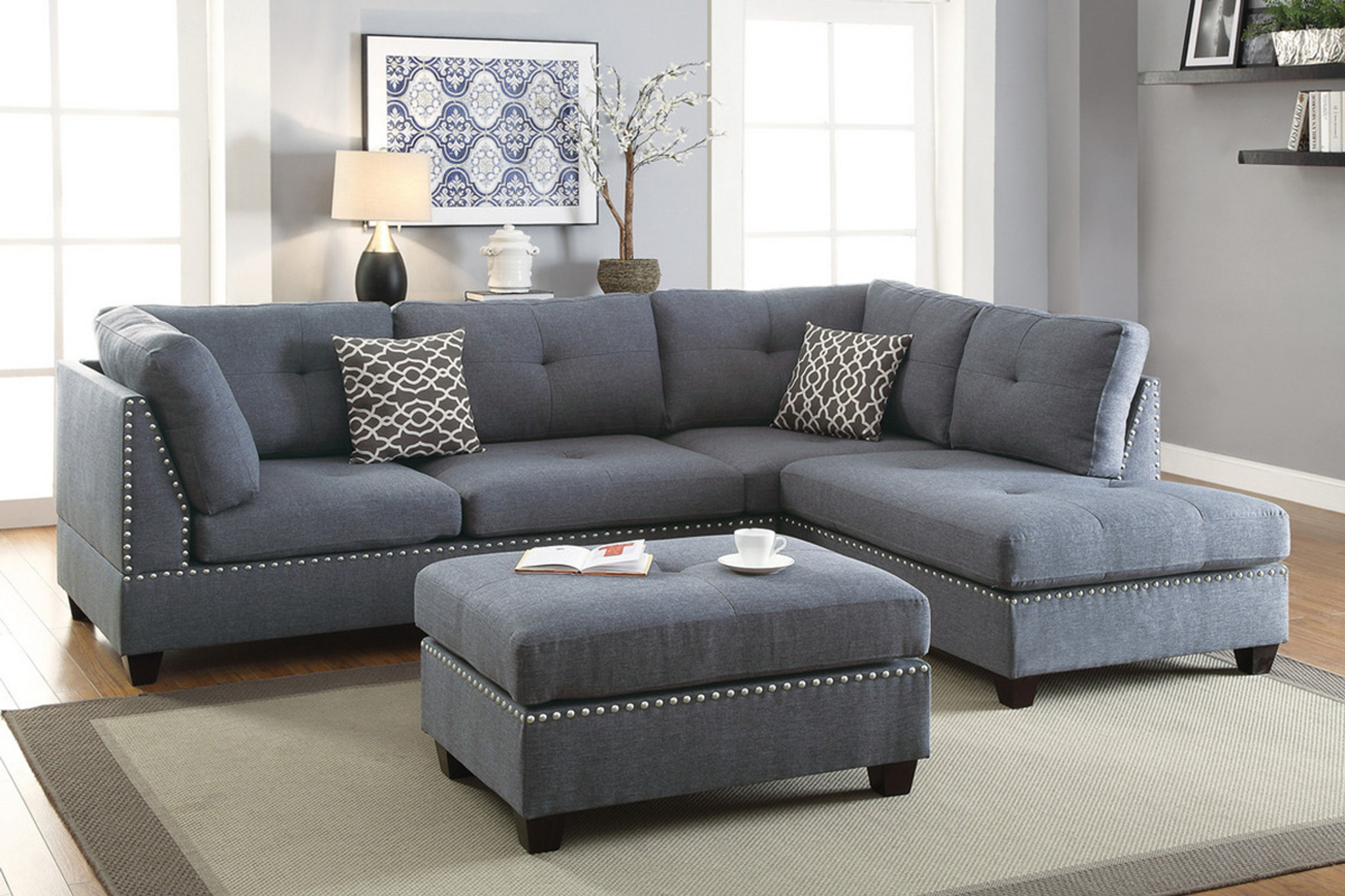 Awe Inspiring Laney Sectional With Ottoman In Blue Grey Uwap Interior Chair Design Uwaporg