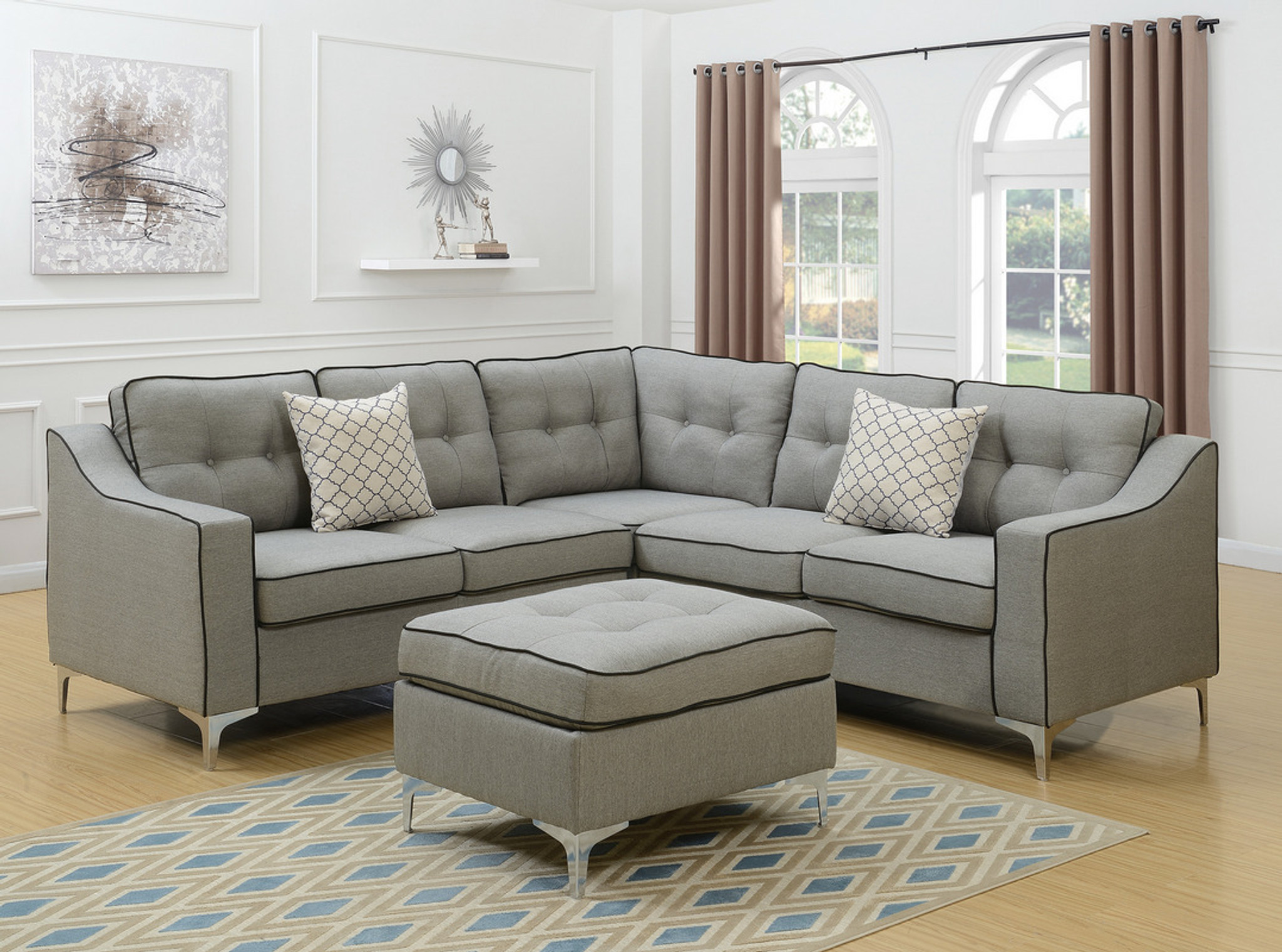Enjoyable 4Pc Ralph Sectional Set With Ottoman In Light Gray Uwap Interior Chair Design Uwaporg