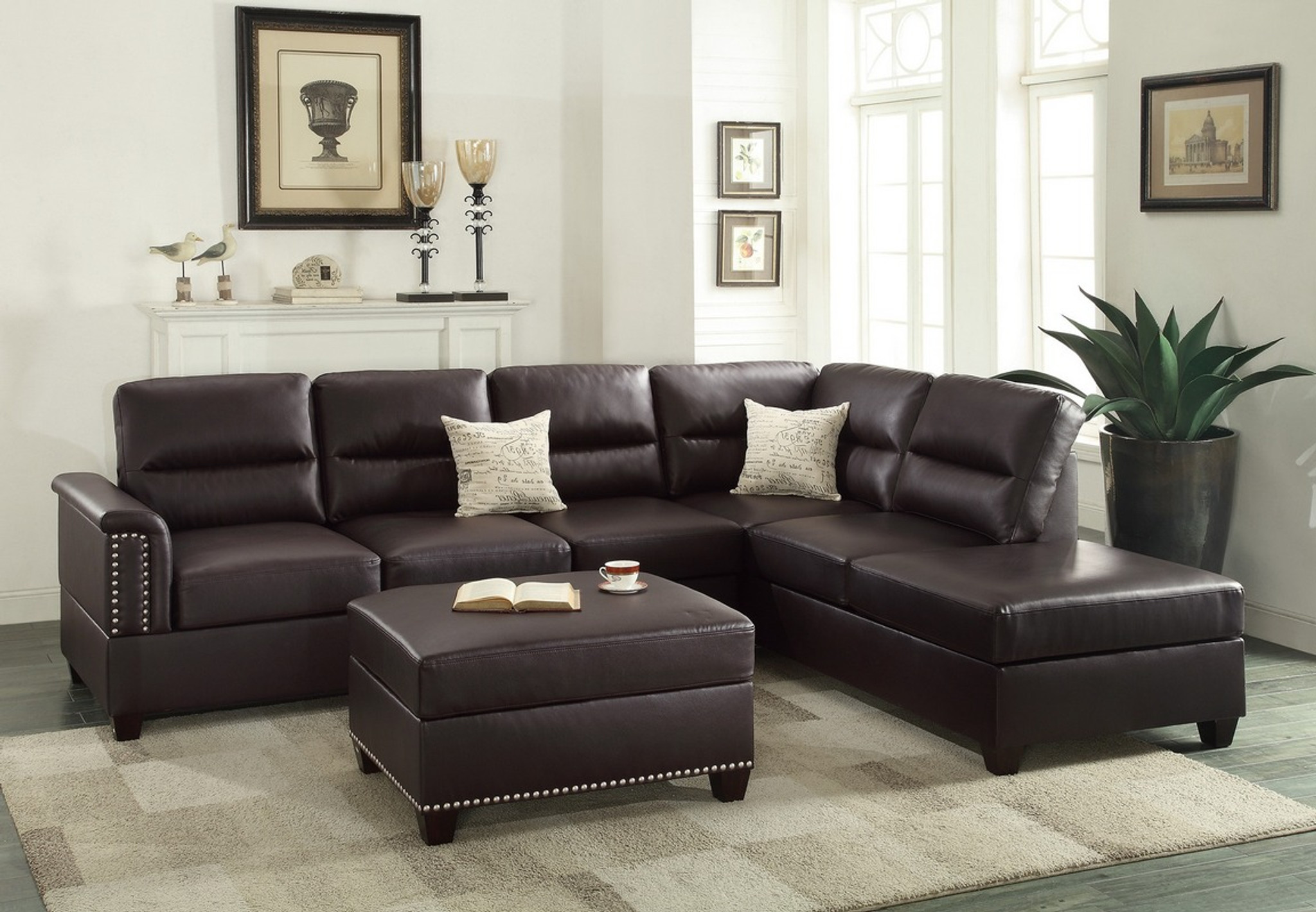 F7609 3pcs Espresso Sectional Sofa Set With Ottoman By Poundex